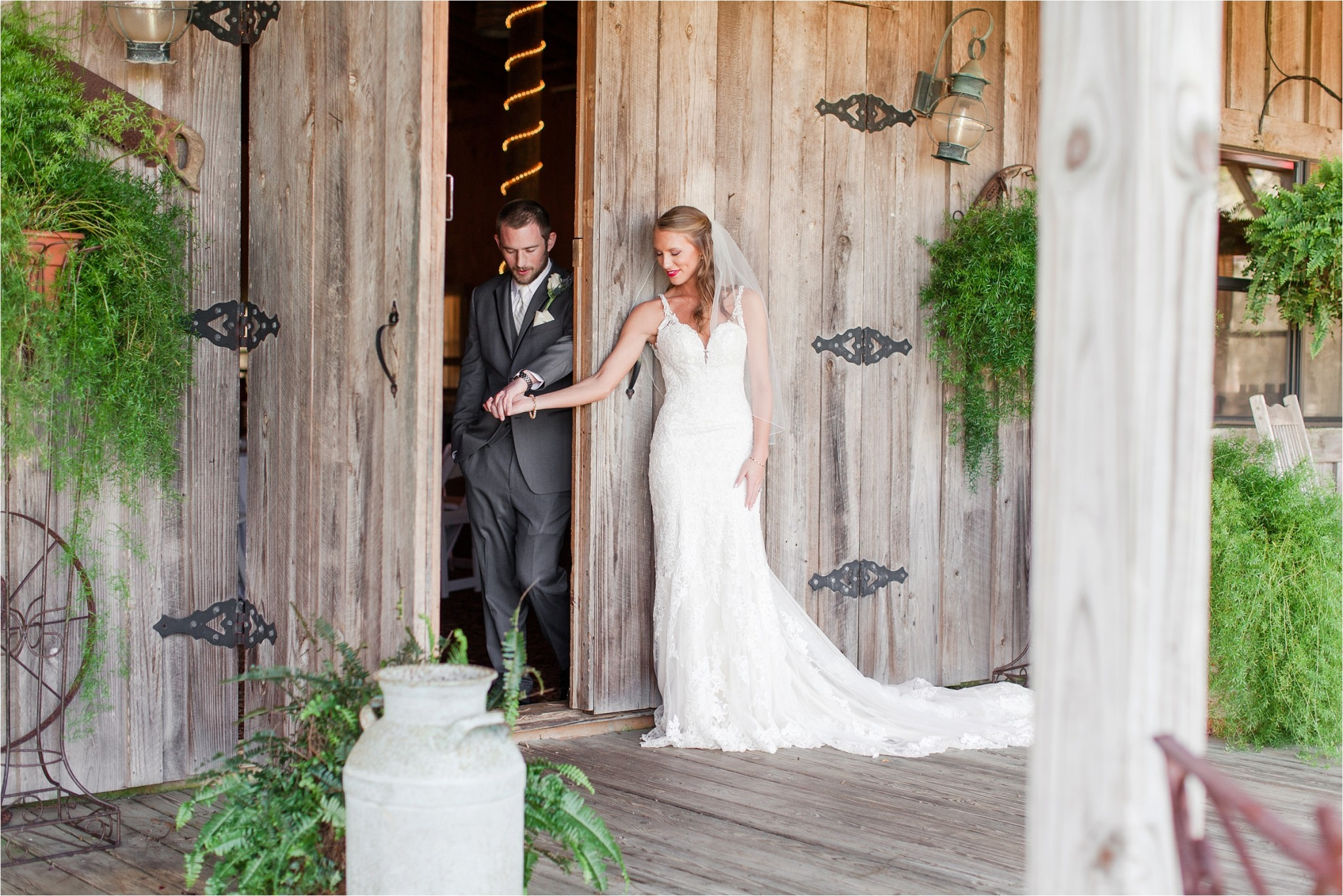 exchanging letters at their Oak Hollow Farm Wedding