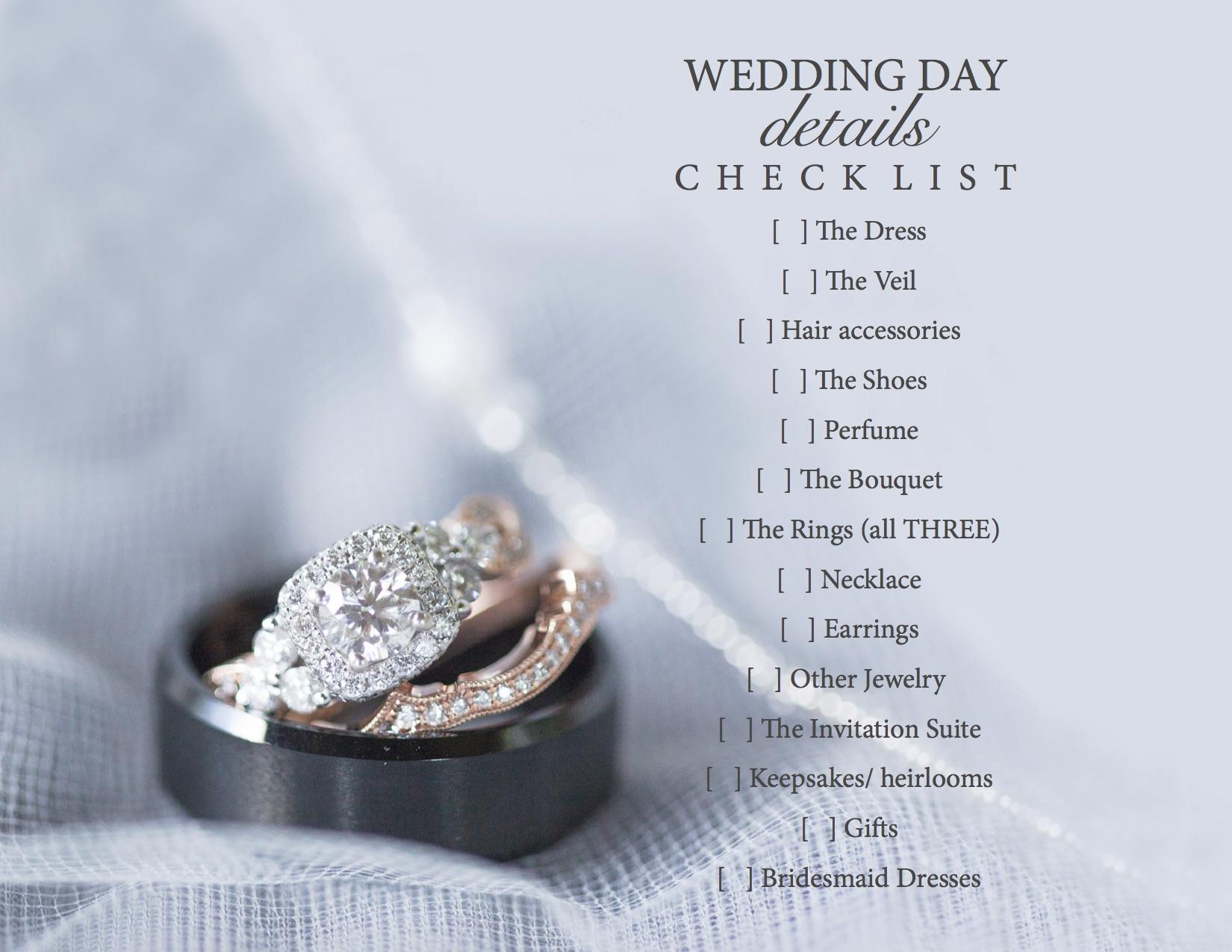 Wedding Day Details Checklist JPEG