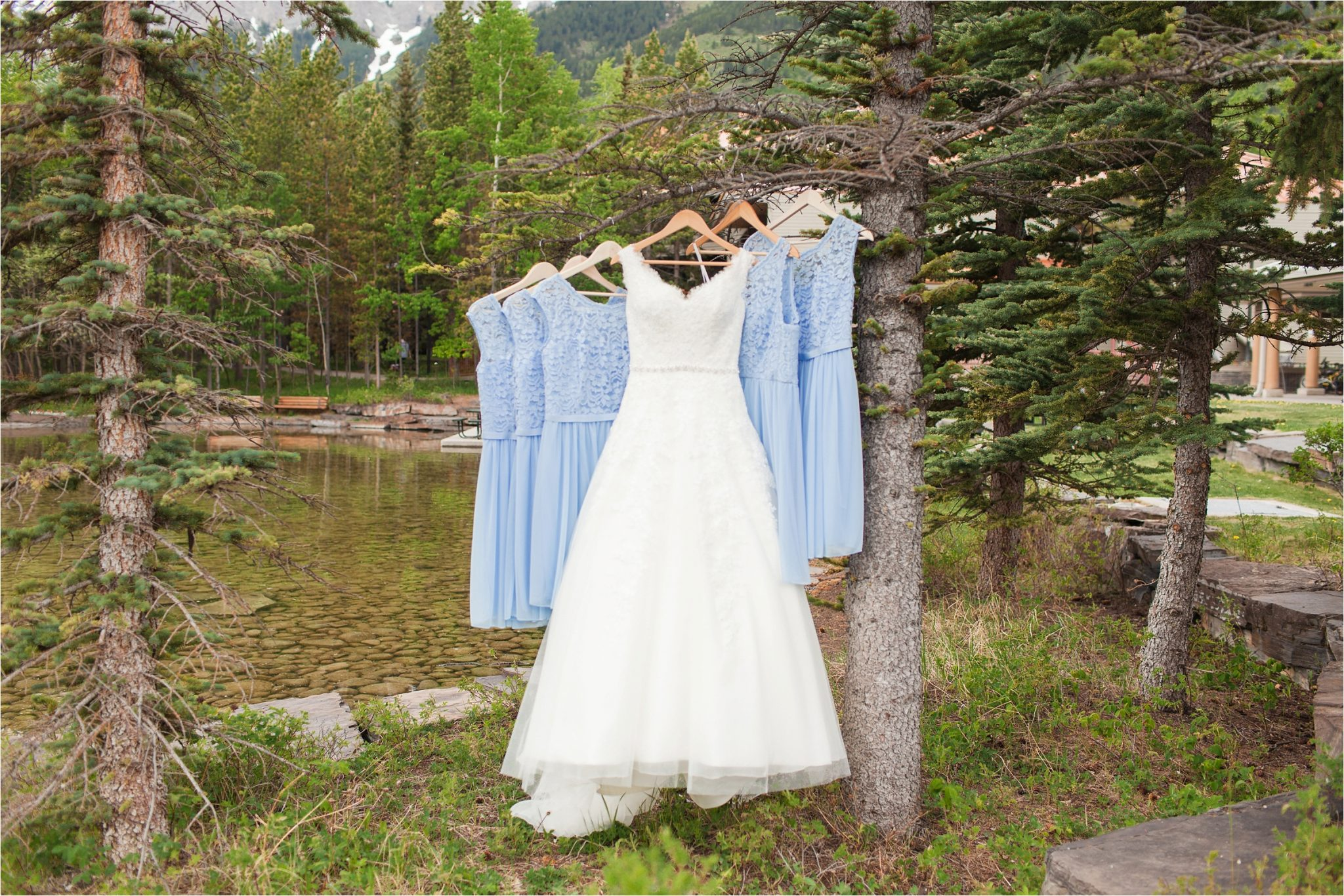 Kananaskis Canada Wedding at the Delta Lodge-Kaitlin & Ricky-Alabama wedding photographer-Lodge wedding-Wedding dress-Bridesmaids dresses-Baby blue bridesmaids dresses