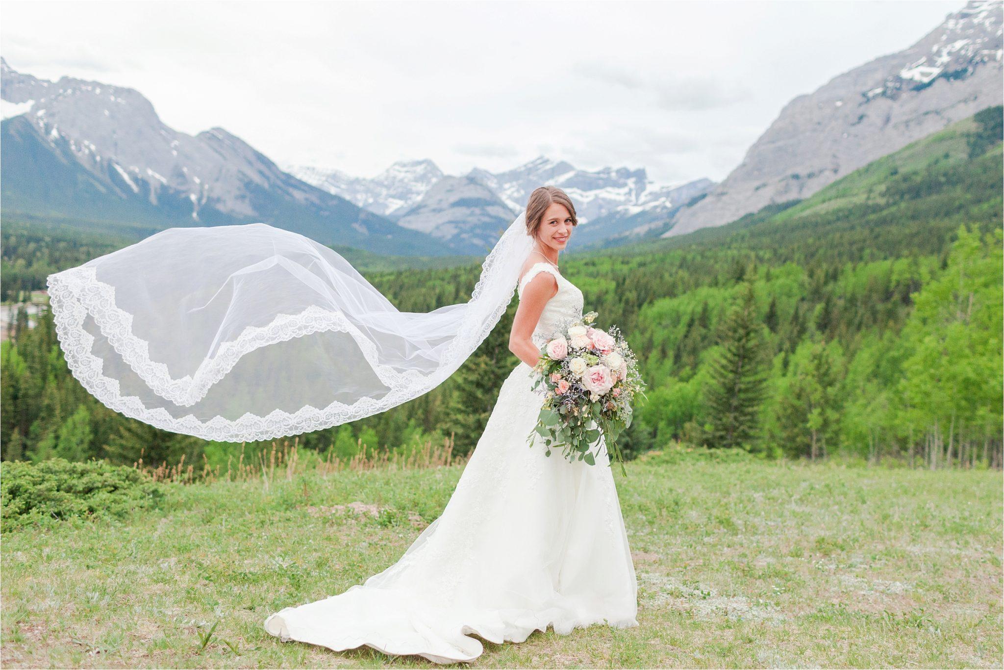 Kananaskis Canada Wedding at the Delta Lodge-Kaitlin & Ricky-Alabama wedding photographer-Lodge wedding-Bridal photography-Mountain wedding-Wedding dress inspiration-Bridal bouquet