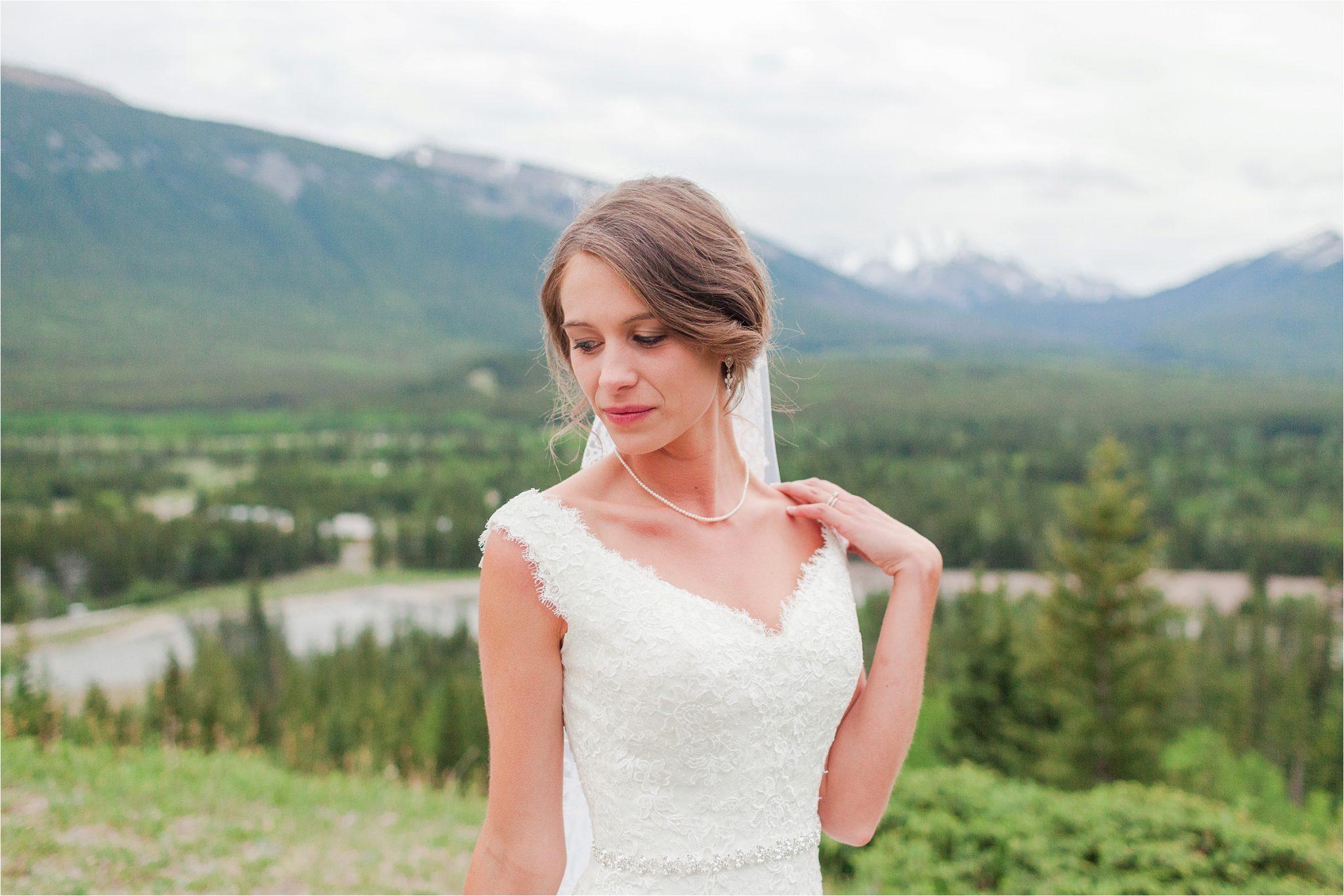 Bridal portraits Kananaskis Canada Wedding at the Delta Lodge