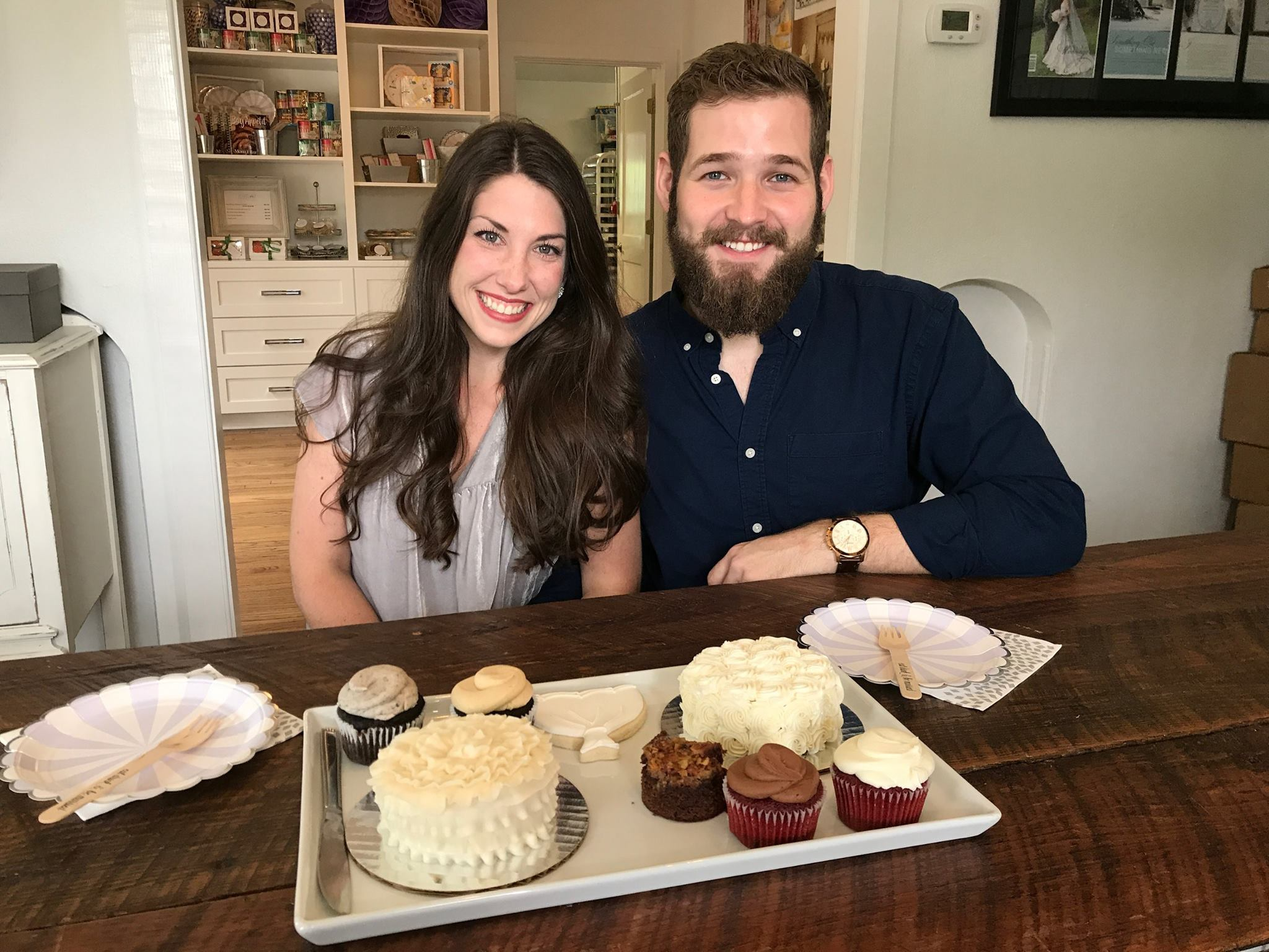 David and I cake tasting at Ellenjay events in mobile alabama