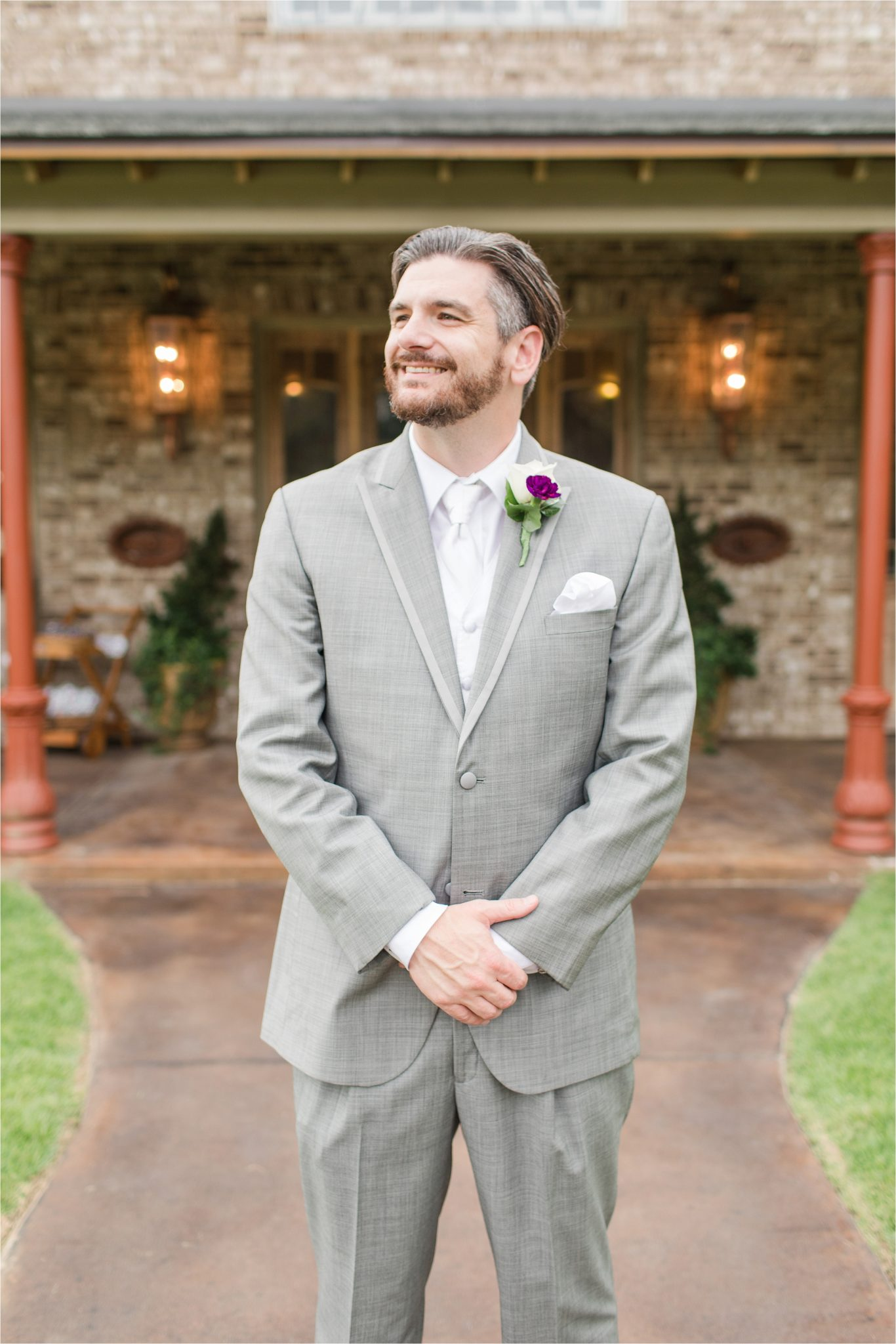 Romantic Destination Wedding Photographer-Bella Sera Gardens-Sarra + Matt-Bridal photography-Groom-Purple themed wedding-Alabama wedding-Alabama photographer