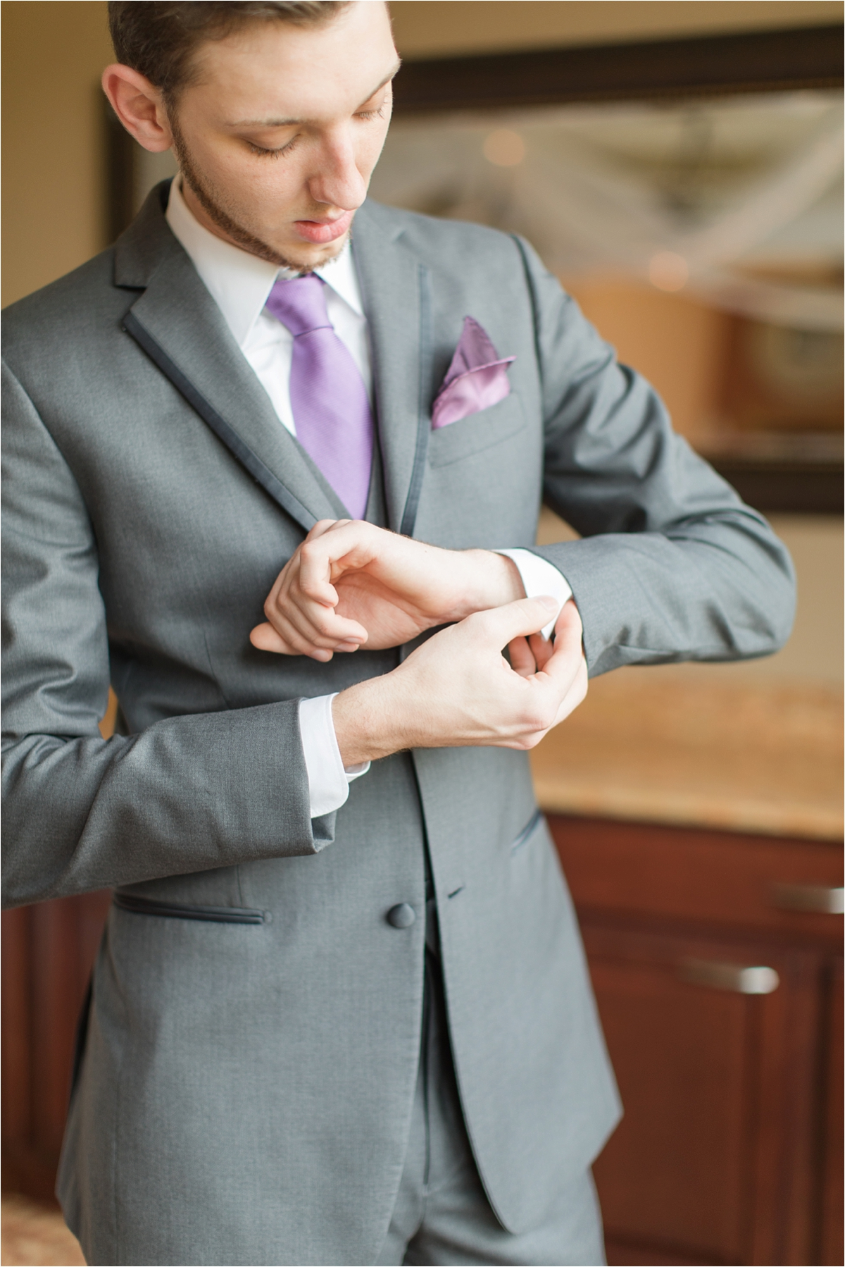 lavender-groom-grey-fitted-suit-pocket-handkerchief-alabama-wedding-photographer