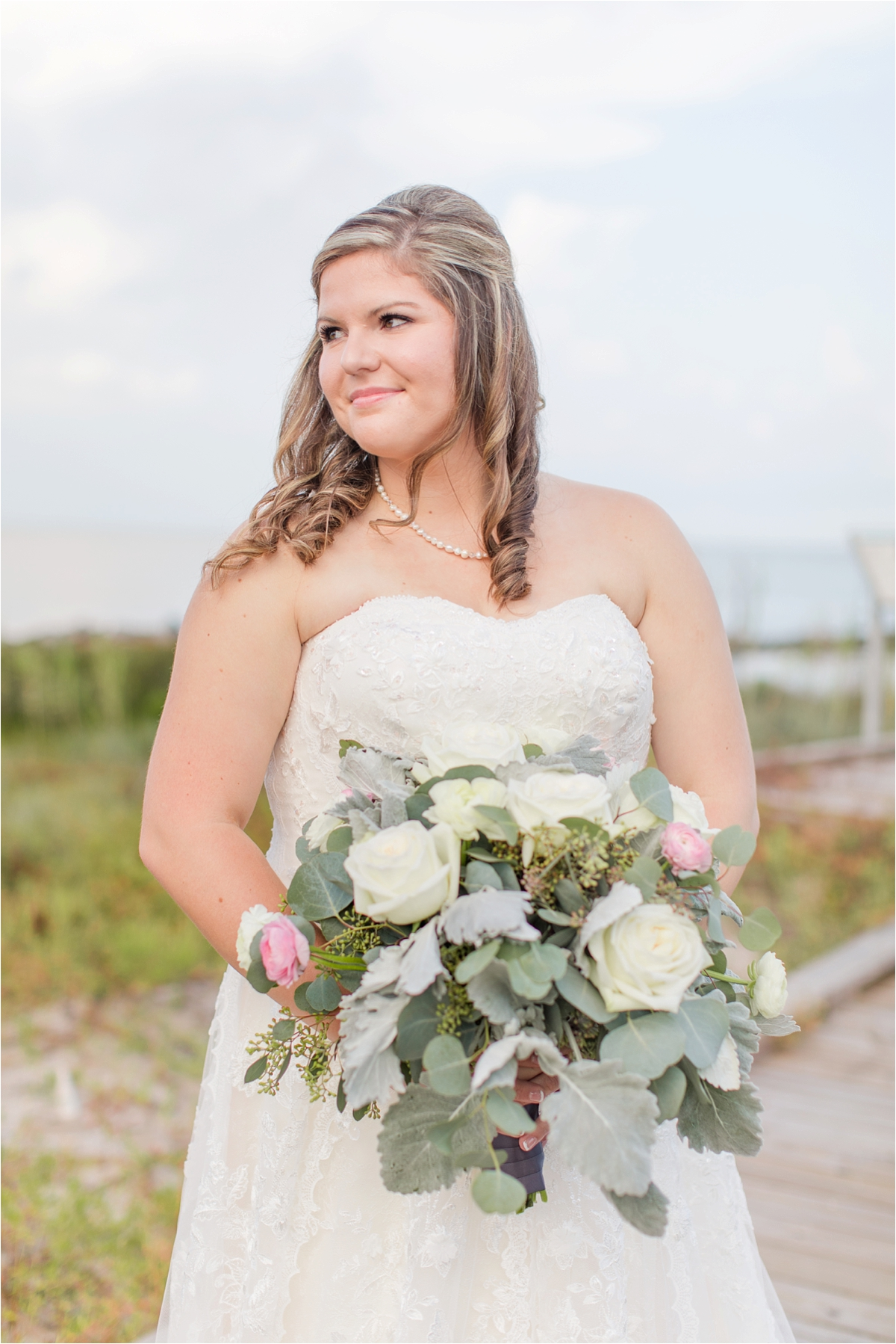 bridal-portraits-alabama-wedding-photographer-Dauphin Island Estuarium-on the beach-beach-bouquet-white-roses-pop of pink