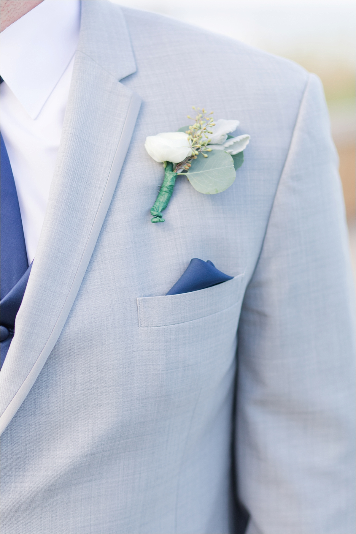 dainty-corsage-navy-pocket-hankerchief-wedding-groom-light-blue-suit-baby's-babys-breath