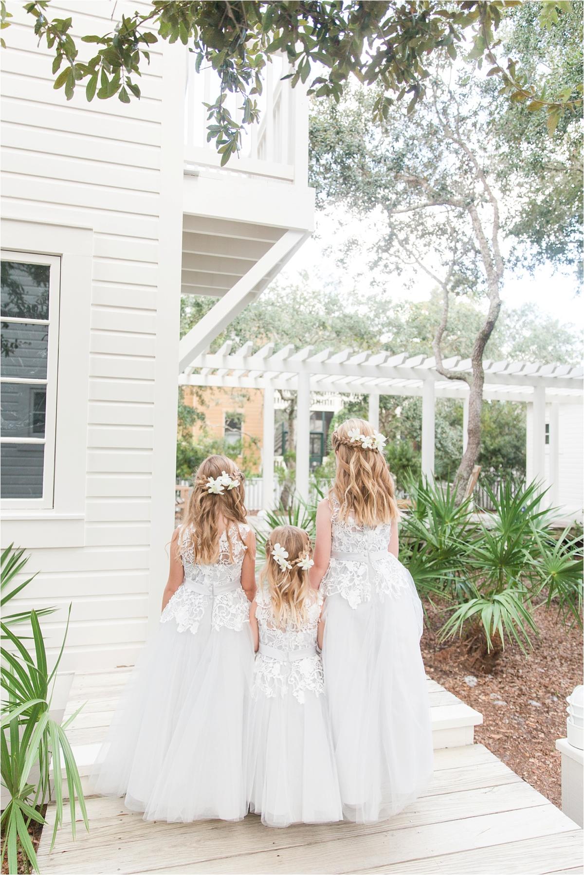 Seaside Florida Wedding Photographer-Catherine Carter + Brian-Alabama photographer-Neutral Wedding-Flower girls