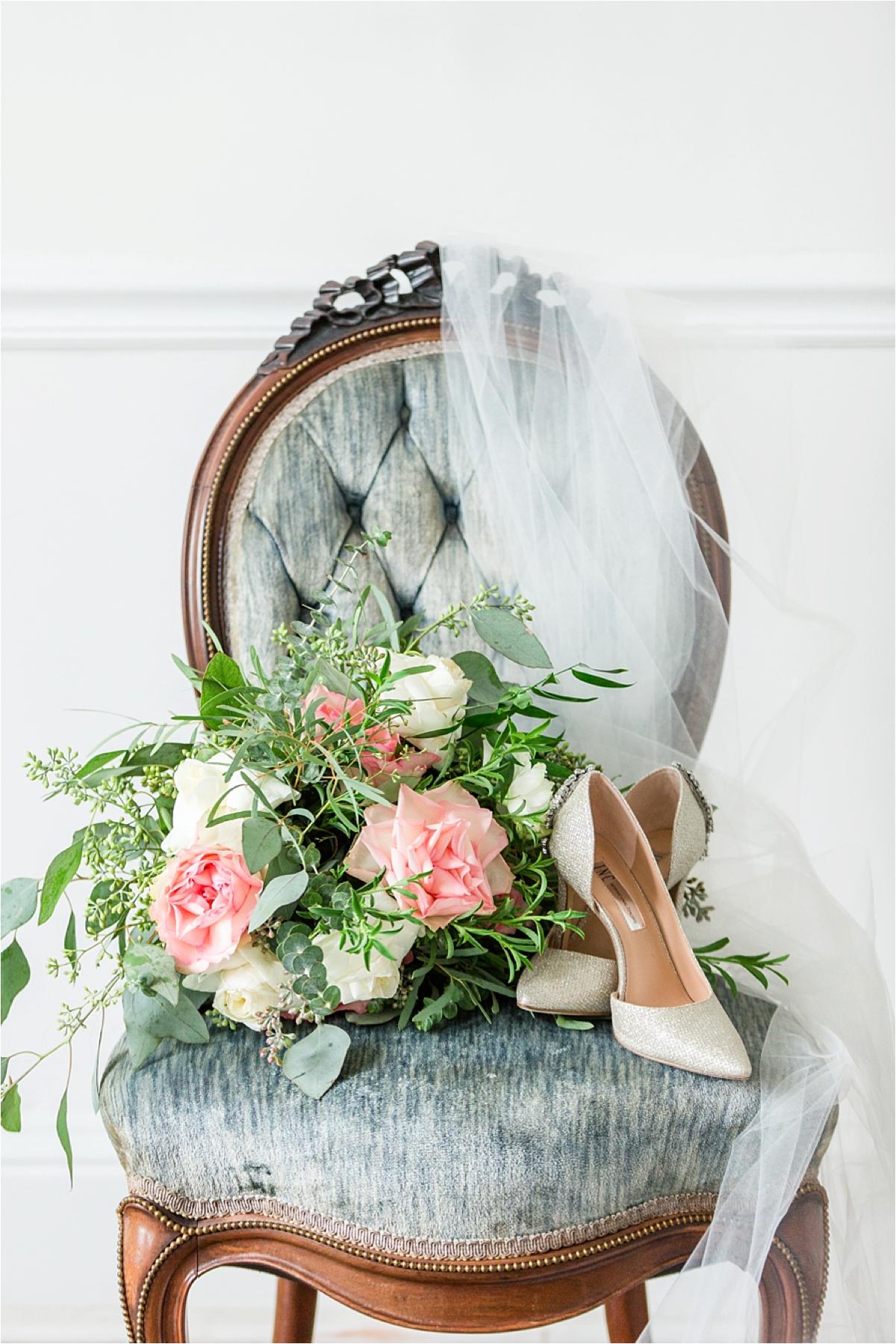 wedding-details-bridal-bouquet-alabama-wedding photography-shoes-vintage-dusty-blue-antique-chair