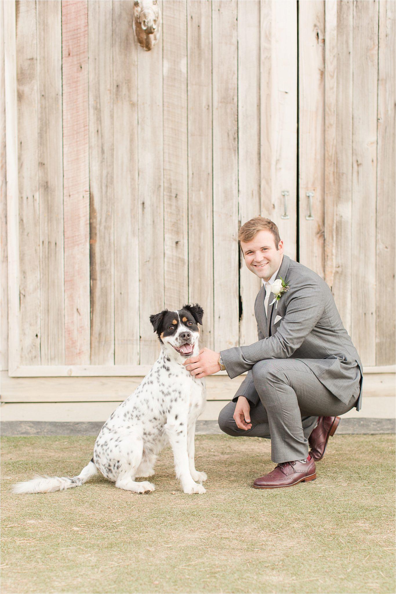 The Barn at Bridlewood Wedding-Hattiesburg, Mississippi-Kelsey + Blaker-Wedding details-Groom-Grey tuxedo-Barn wedding