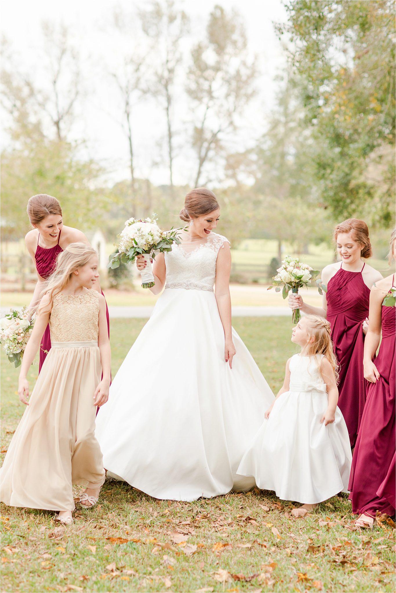 The Barn at Bridlewood Wedding-Hattiesburg, Mississippi-Kelsey + Blake-Wedding details-Barn wedding-Ruby wedding-Autumn themed wedding-Wedding dress-Bridal party-Bridemaids