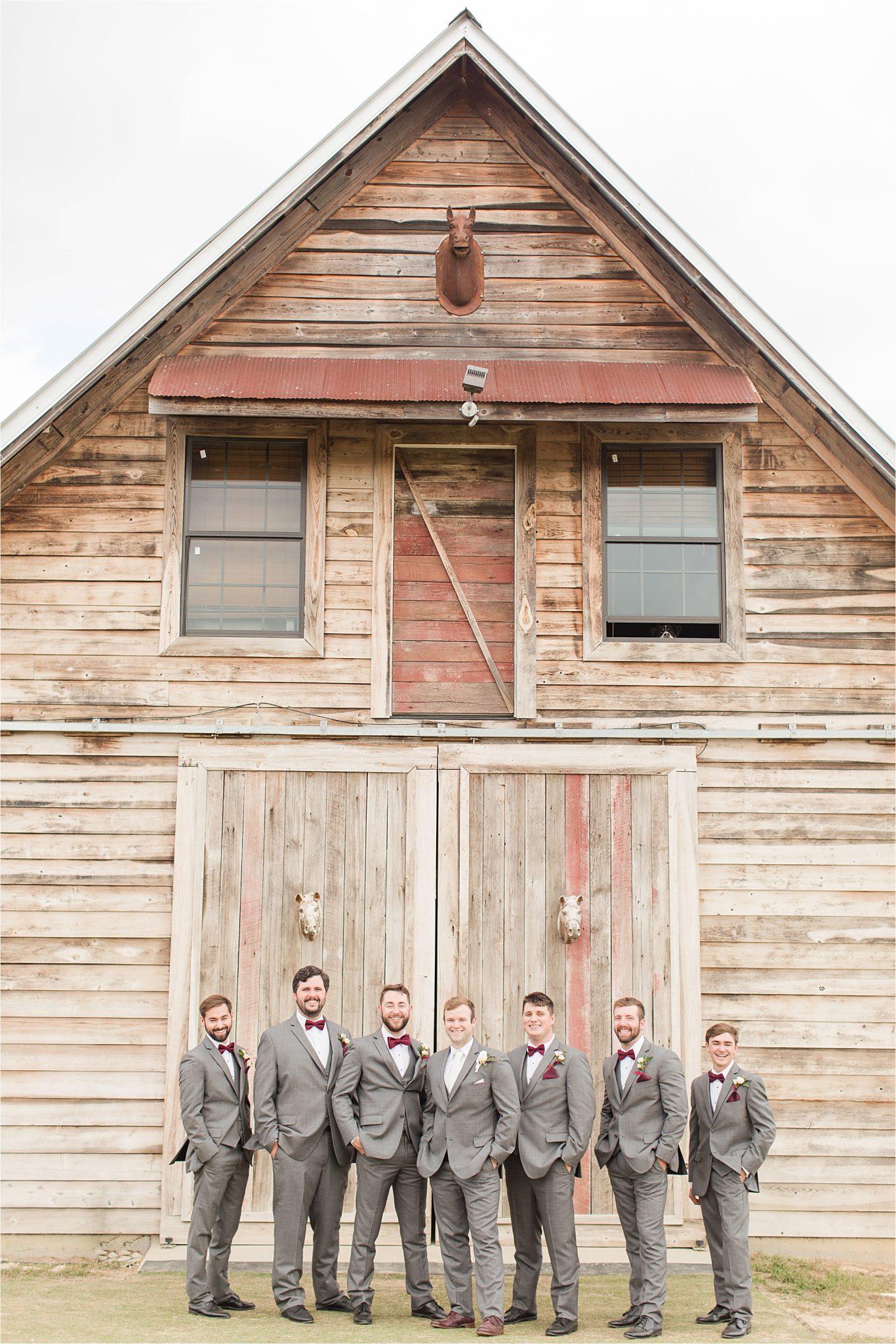 The Barn at Bridlewood Wedding-Hattiesburg, Mississippi-Kelsey + Blaker-Wedding details-Groom-Groomsmen-Grey tuxedo-Barn wedding-Grey themed wedding