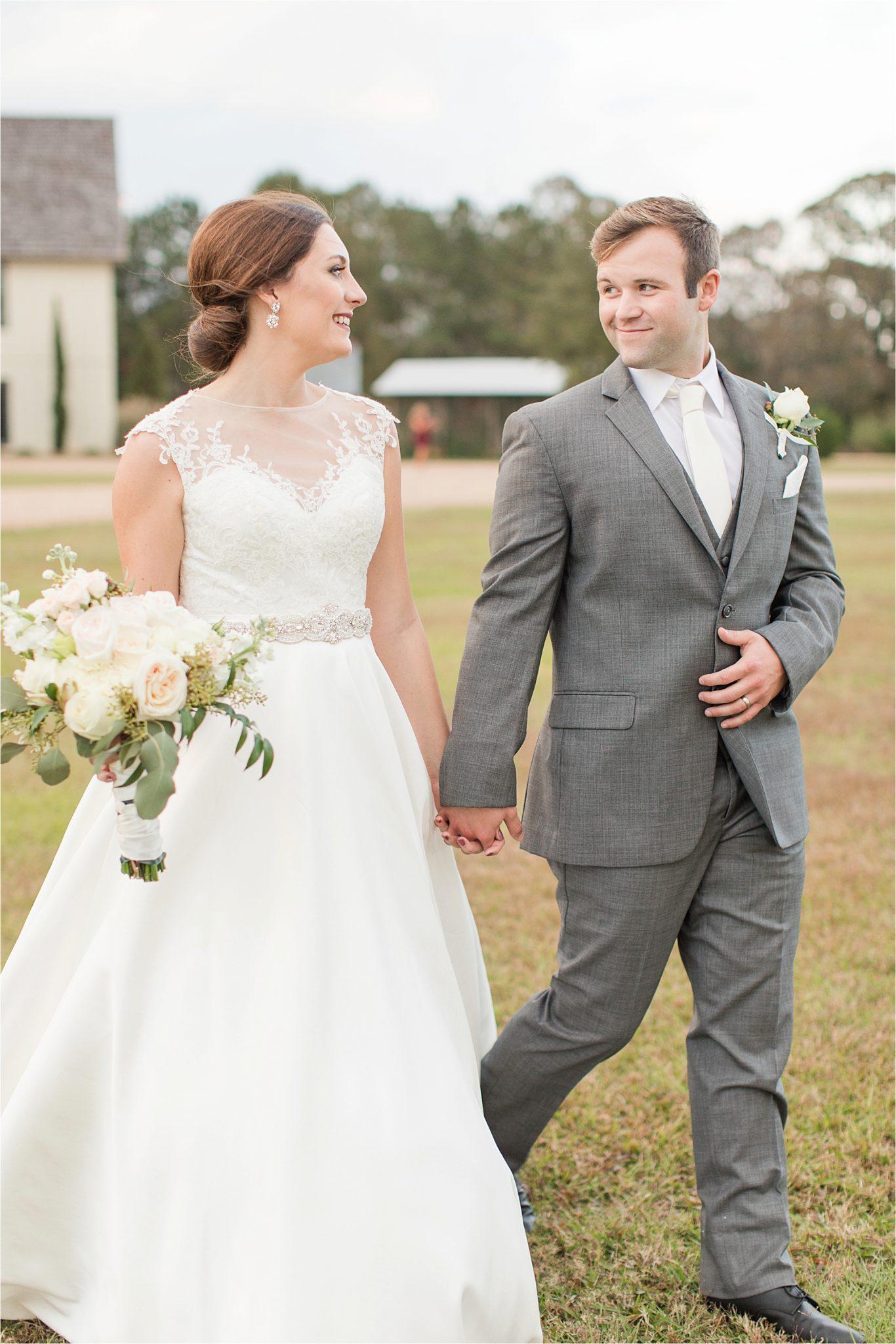 The Barn at Bridlewood Wedding-Hattiesburg, Mississippi-Kelsey + Blake-Wedding details-Barn wedding-Ruby wedding-Autumn themed wedding-Wedding dress-Bride and groom