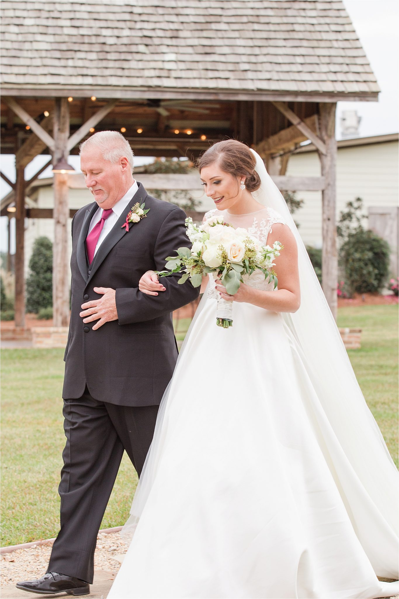 The Barn at Bridlewood Wedding-Hattiesburg, Mississippi-Kelsey + Blake-Wedding details-Barn wedding-Ruby wedding-Autumn themed wedding-Wedding dress-Wedding florals-Bridal shoot-Father and daughter