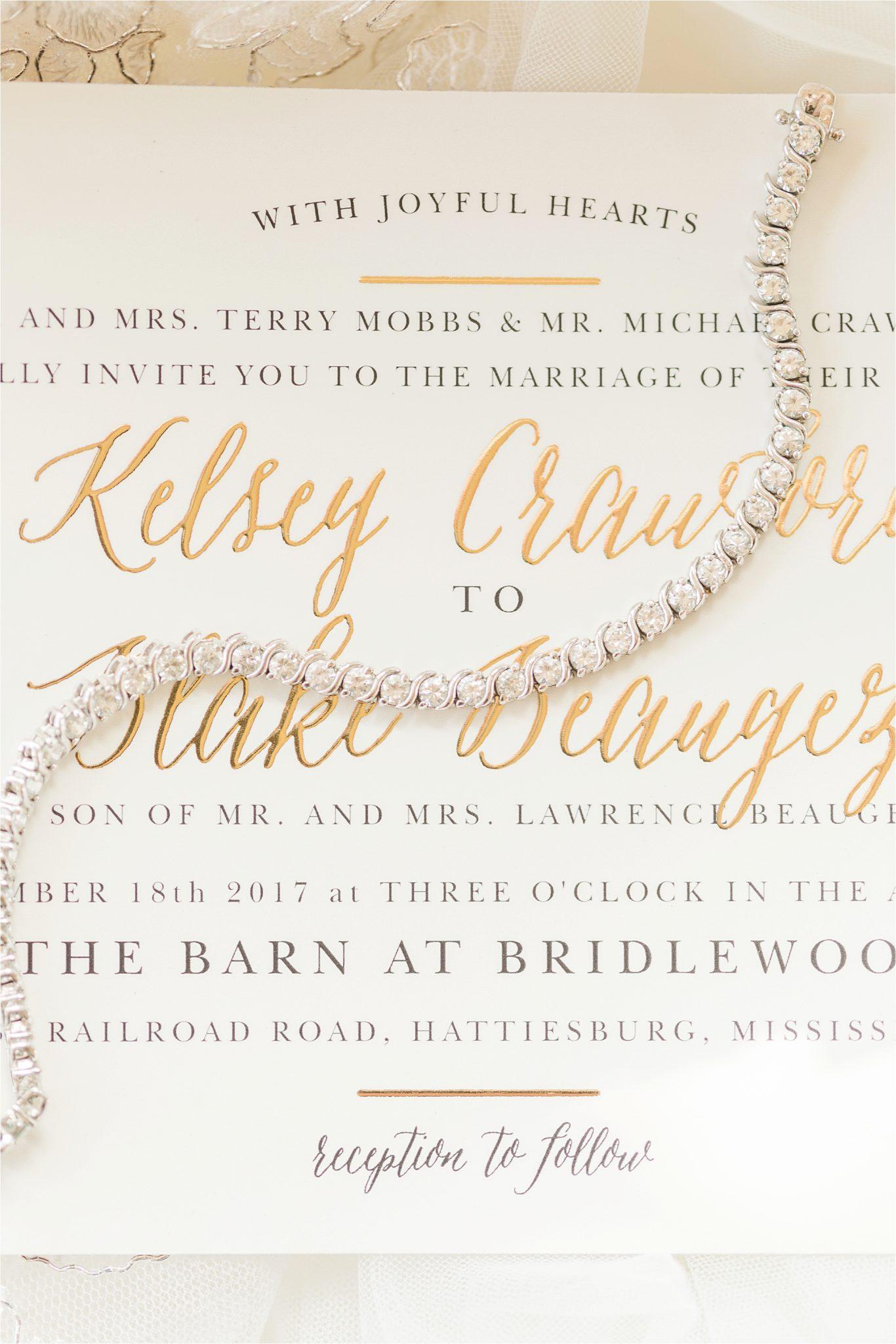 The Barn at Bridlewood Wedding-Hattiesburg, Mississippi-Kelsey + Blake-Wedding paper-Wedding details-Wedding invitation