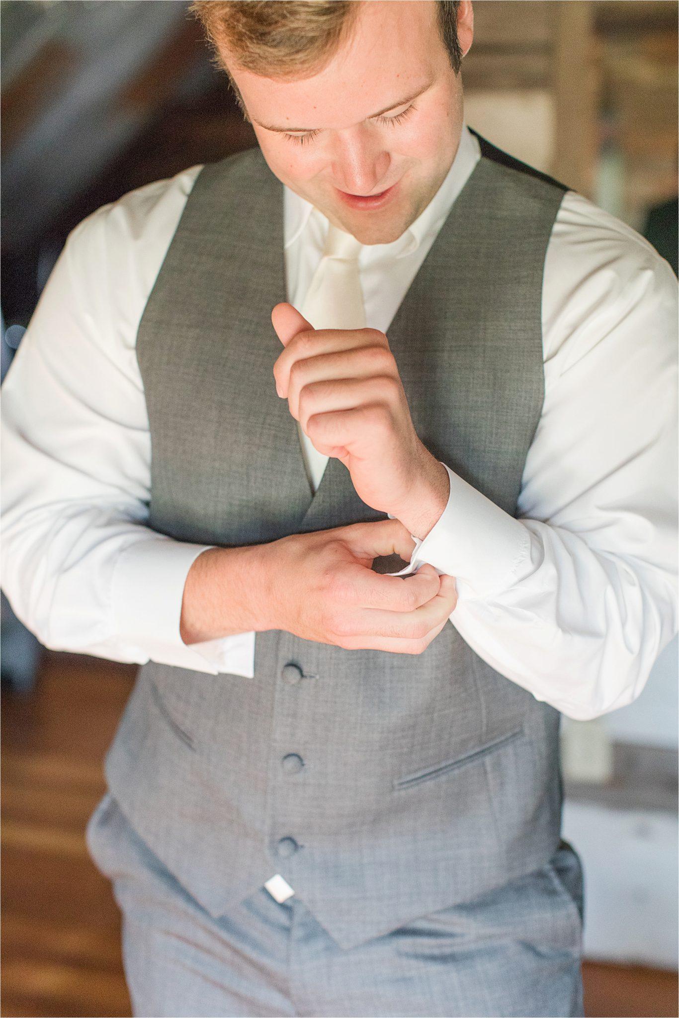 The Barn at Bridlewood Wedding-Hattiesburg, Mississippi-Kelsey + Blake-Wedding details-Groom-Grey tuxedo
