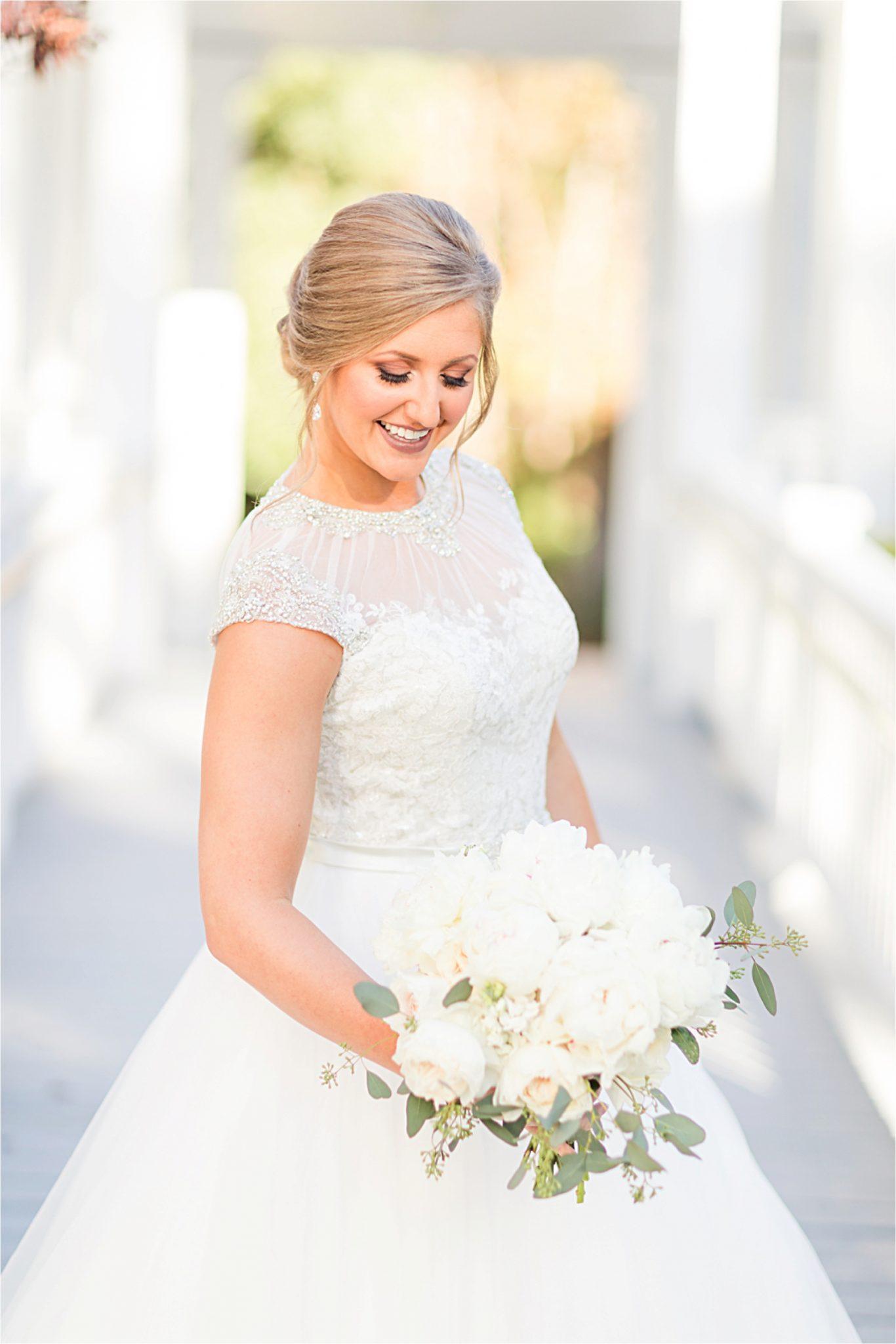 St Francis at the Point Bridal Portraits-Mary Catherine-Alabama photographer-Bridal Shoot-Candid-Wedding Dress-Wedding Bouquet
