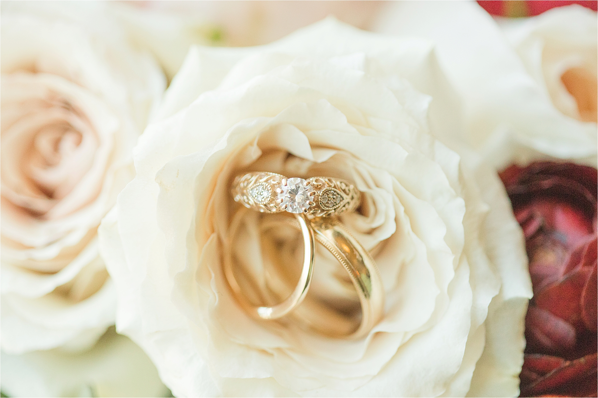ornate-wedding-engagement-rings-yellow-gold-antique-unique-round-cut-diamond-vine-leaves