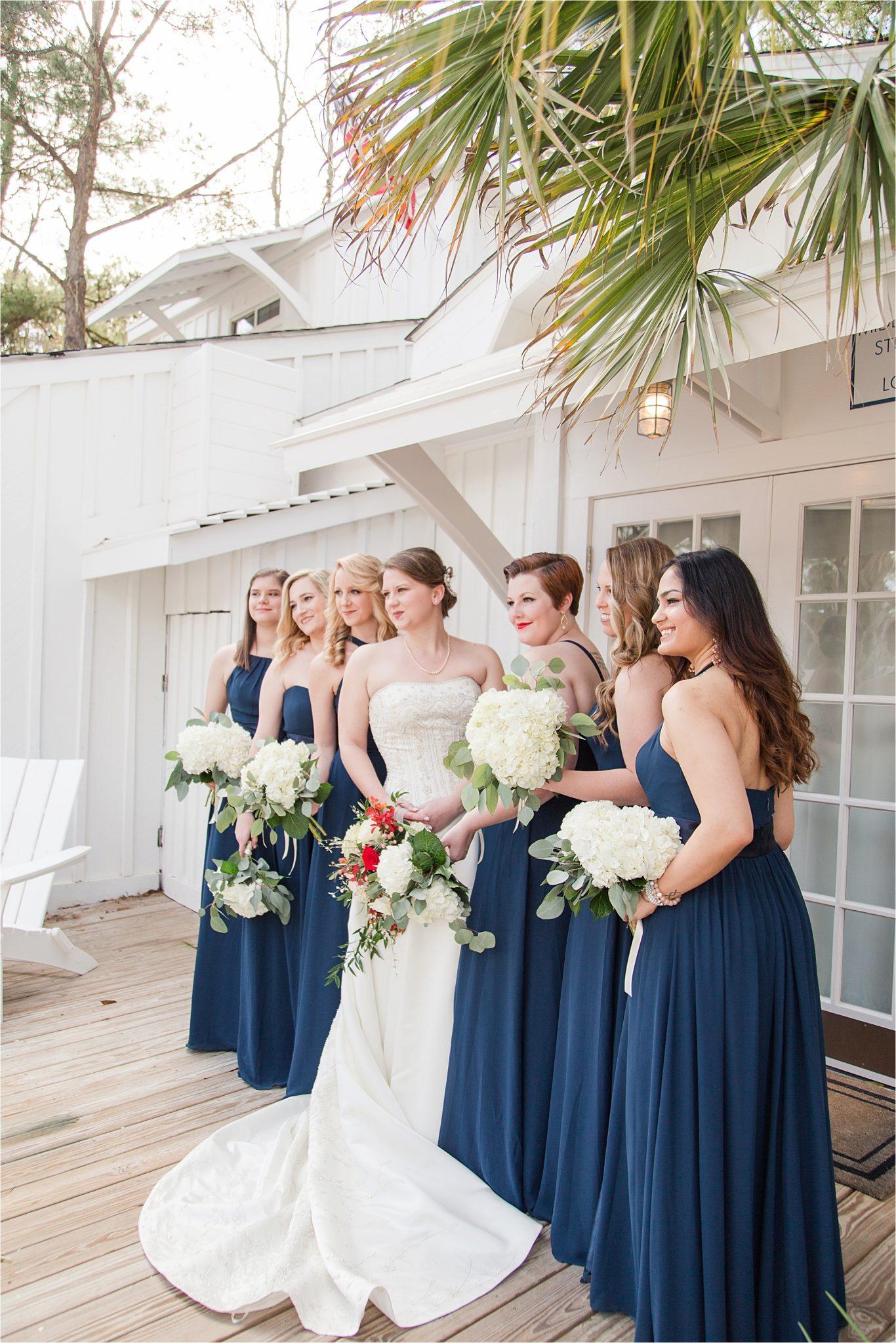 Alabama Wedding Photographer-Little Point Clear Winter Wedding-Meri Beth + Andrew-Bride and Bridesmaids-Wedding Florals-Navy Bridesmaids dresses-Navy themed wedding