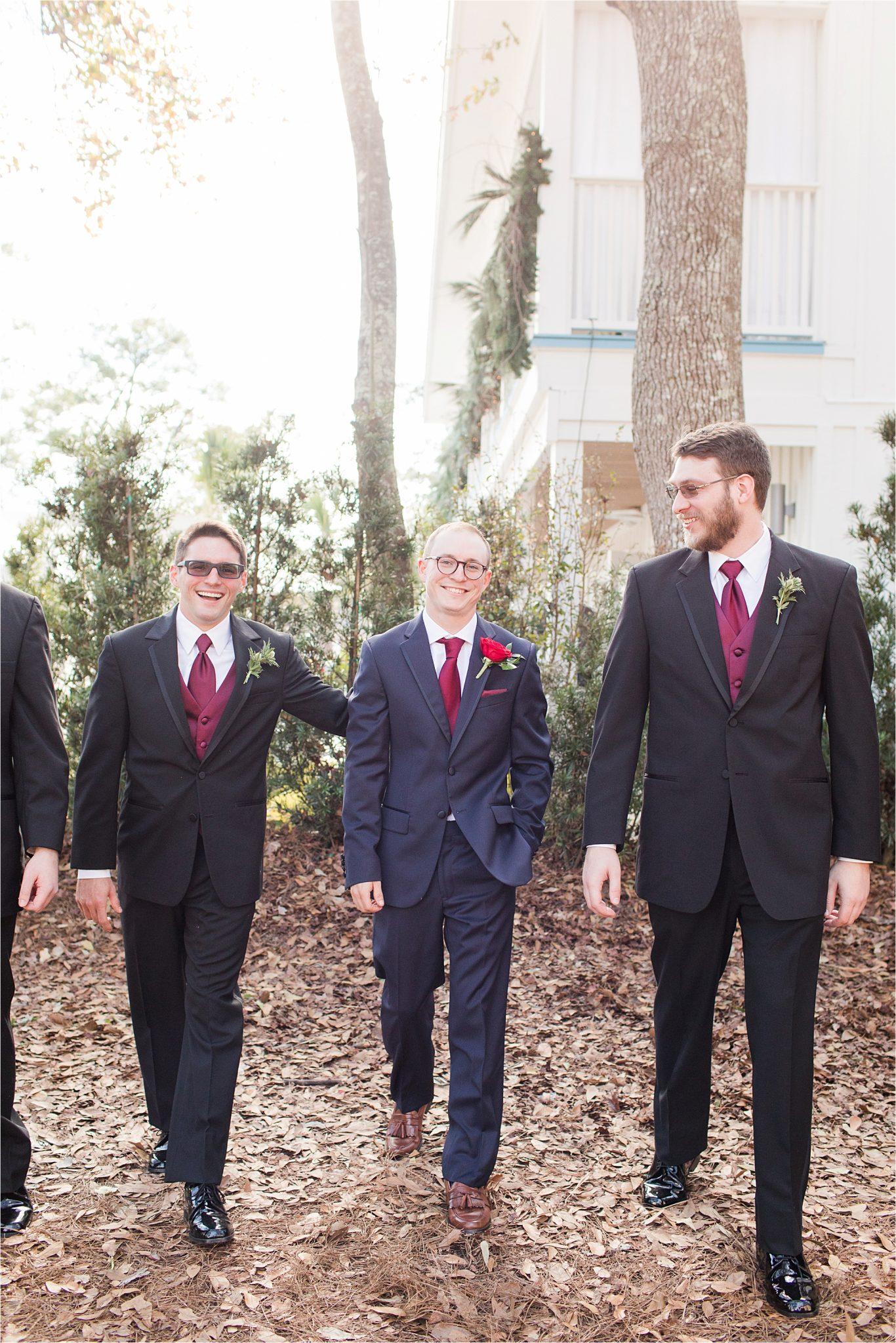Alabama Wedding Photographer-Little Point Clear Winter Wedding-Meri Beth + Andrew-Groom and Groomsmen-Black groomsmen attire-Navy themed wedding