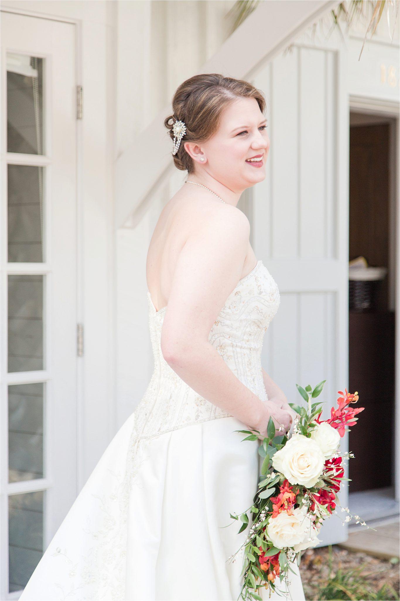 Alabama Wedding Photographer-Little Point Clear Winter Wedding-Meri Beth + Andrew-Wedding Dress-Wedding Bouquet-Wedding Florals