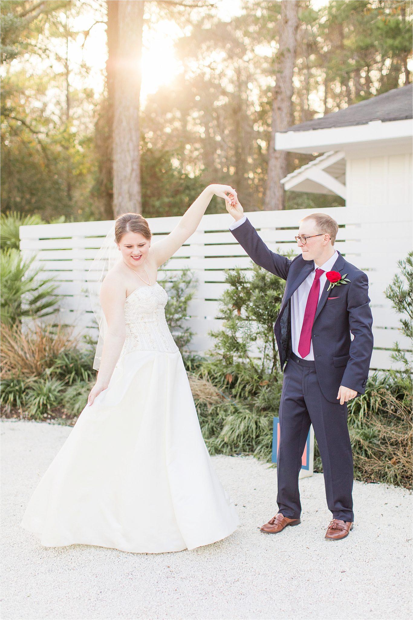 Alabama Wedding Photographer-Little Point Clear Winter Wedding-Meri Beth + Andrew-Bride and Groom