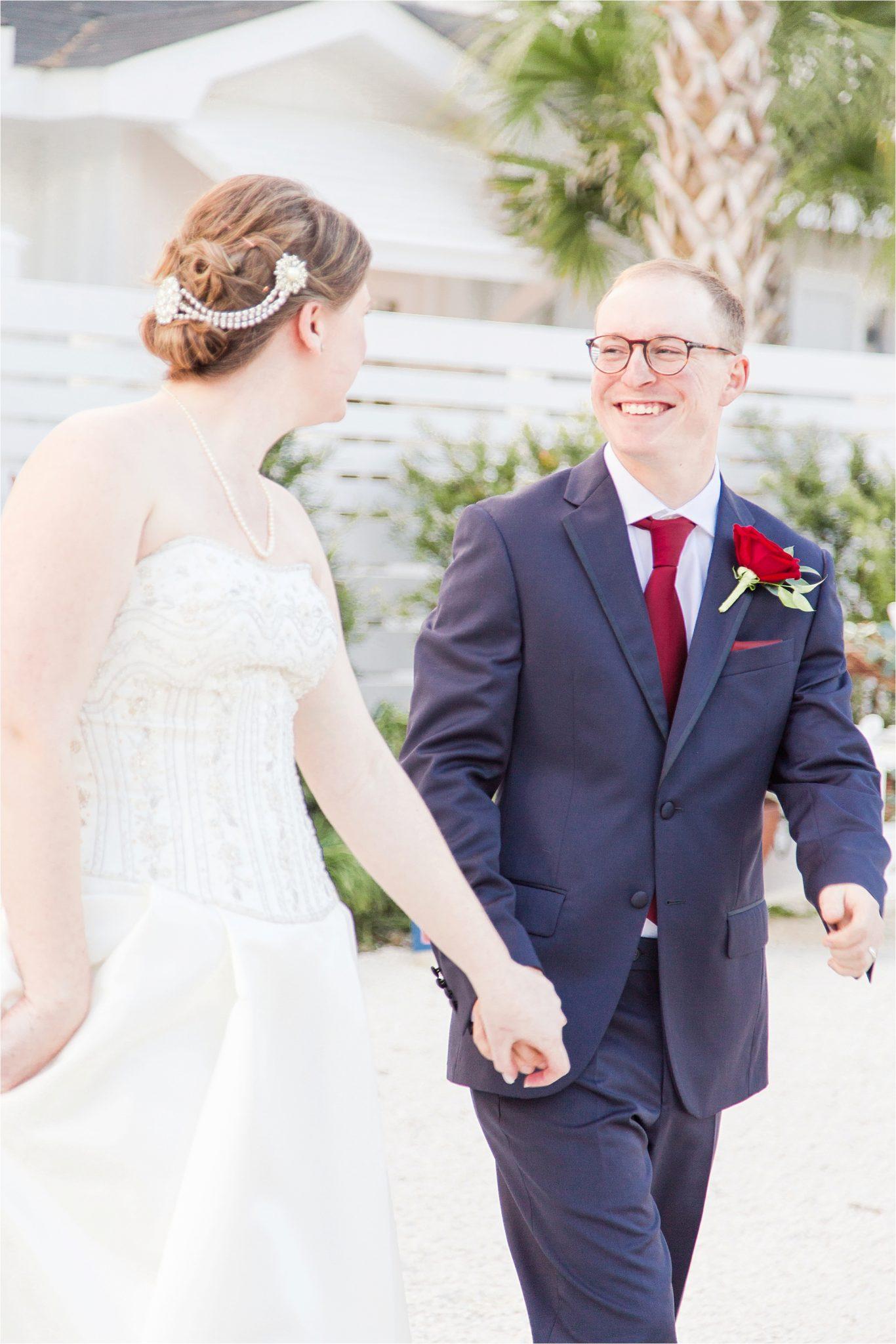 Alabama Wedding Photographer-Little Point Clear Winter Wedding-Meri Beth + Andrew-Bride and Groom-Groom boutonnière-Rose boutonnière