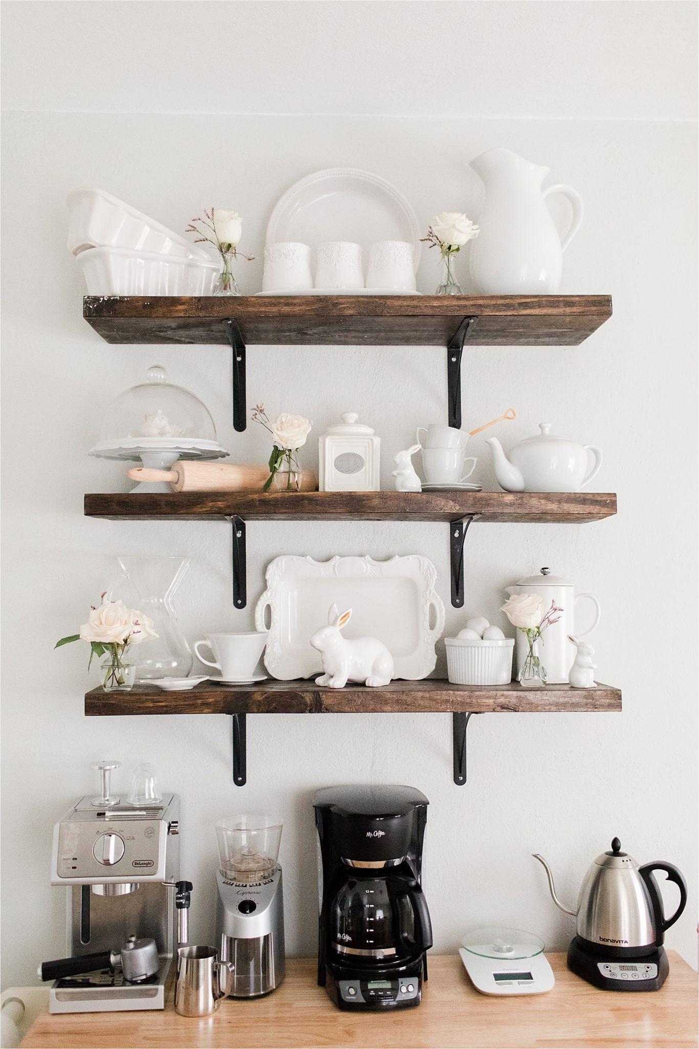 house-home-coffee-station-bar-floating-shelves-white-porcelain-decor-tea-pot-maker-grinder