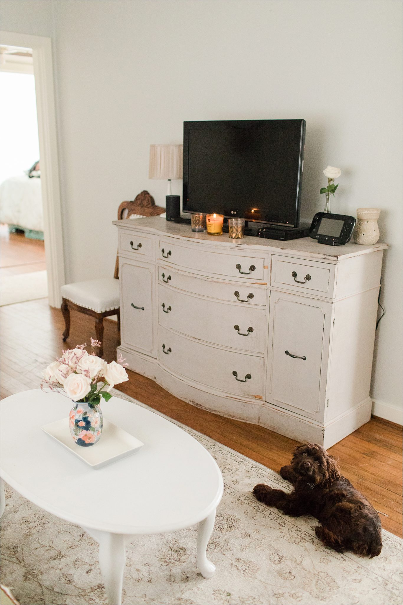 first-home-living-room-vintage-airy-neutrals-puppy-cocker spaniel