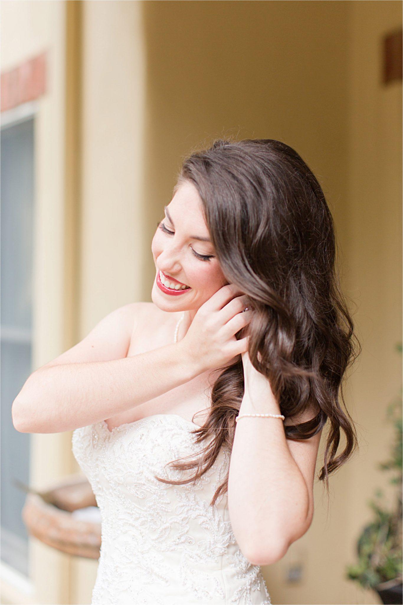 Bride-wedding day-loose curls-pop of lip color