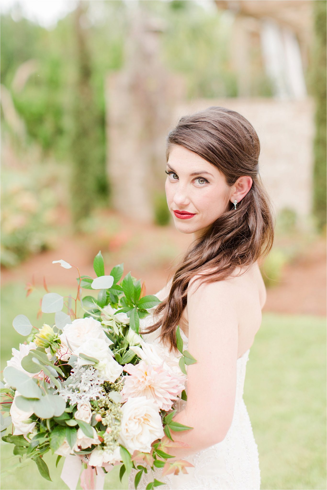 Bridal portraits-photos of the bride-wedding day-red lip-bright lip-alabama wedding photographer