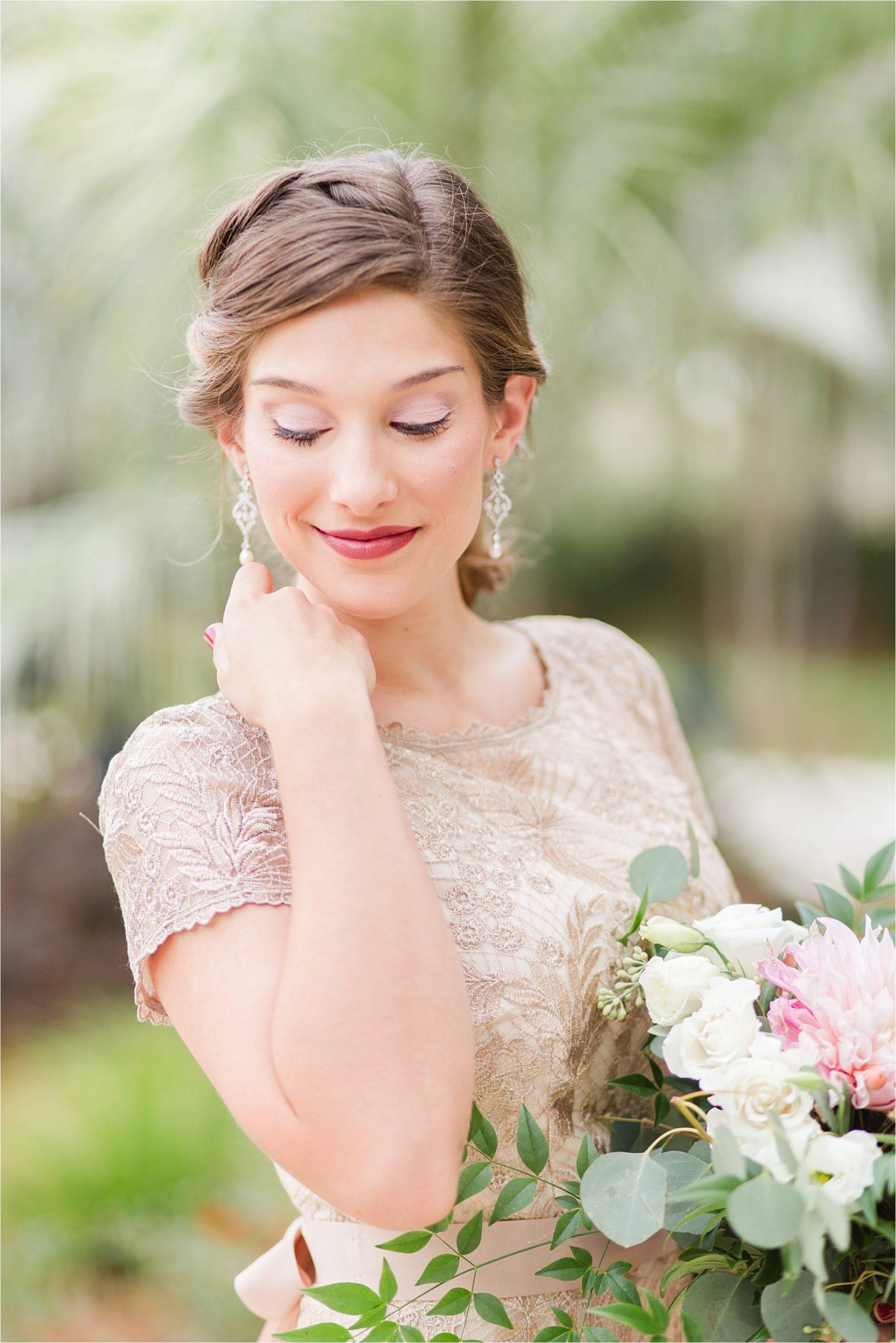 maid of honor-dress-earrings-gold ornate dress-wedding day