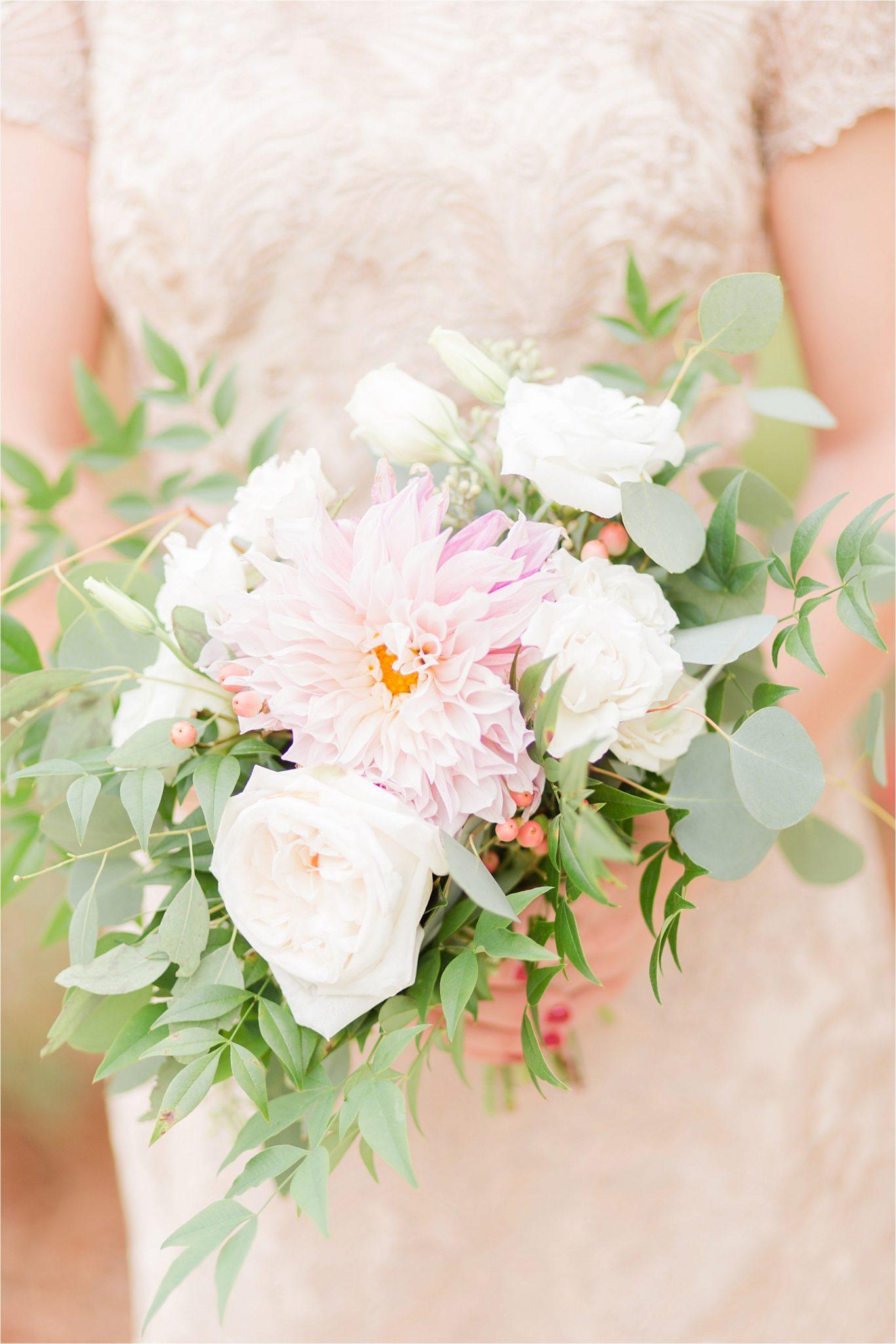 wedding-bridesmaid bouquet-white roses