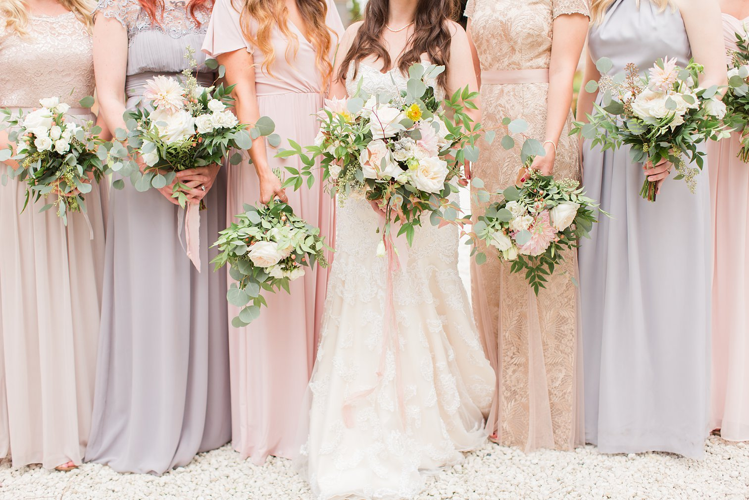 Blush-bridesmaid dresses-bouquets-bride-wedding party-beautiful-mismatched dresses