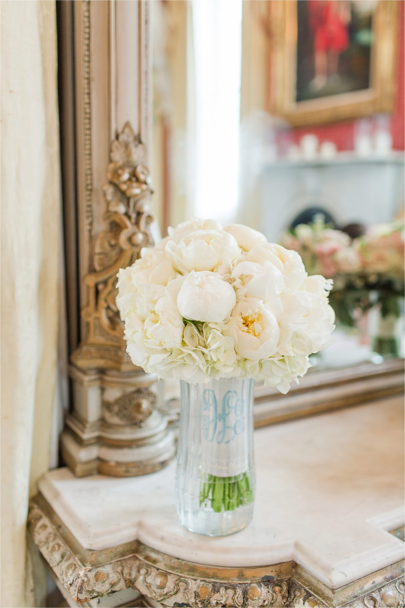 White roses-bridal bouquet-monogrammed wedding bouquet-wrapped-ivory roses