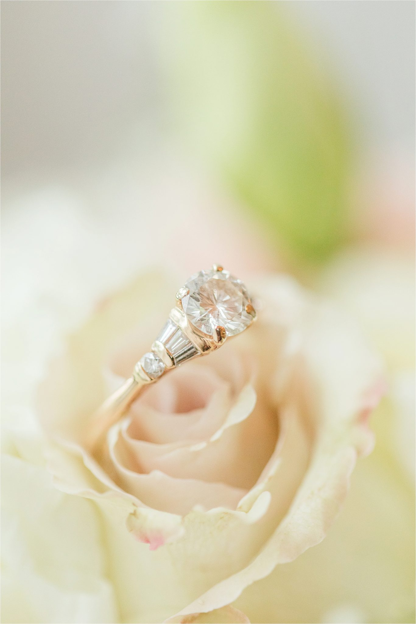 Yellow gold engagement rings-round cut-simple-straps and diamonds on sides-four prong