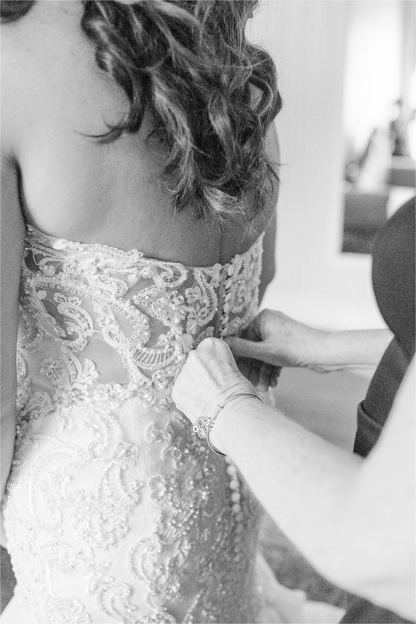 button up back-lace and jeweled wedding dress-strapless-mother daughter-getting ready-wedding day