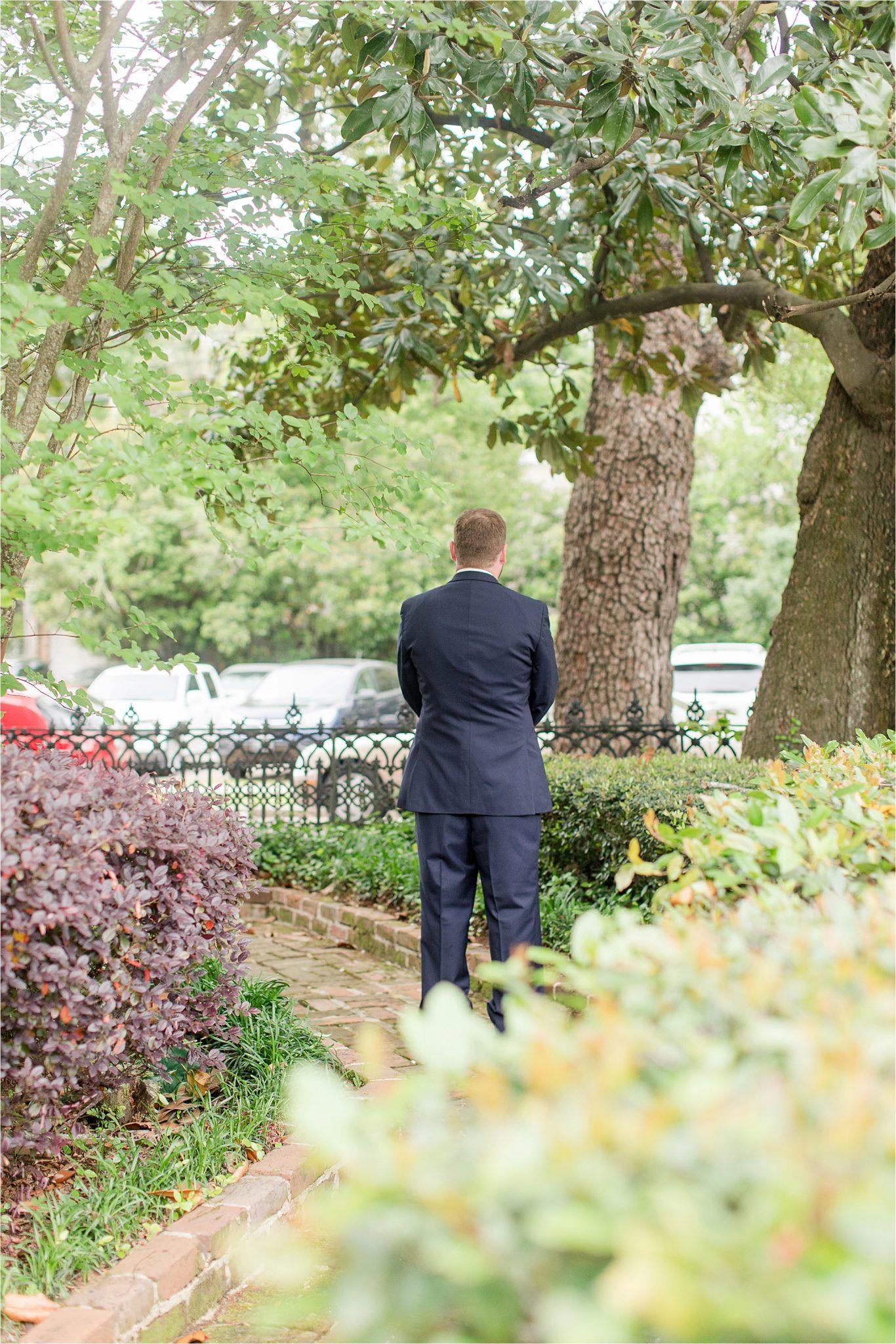 groom-first look-bride and groom-navy suit