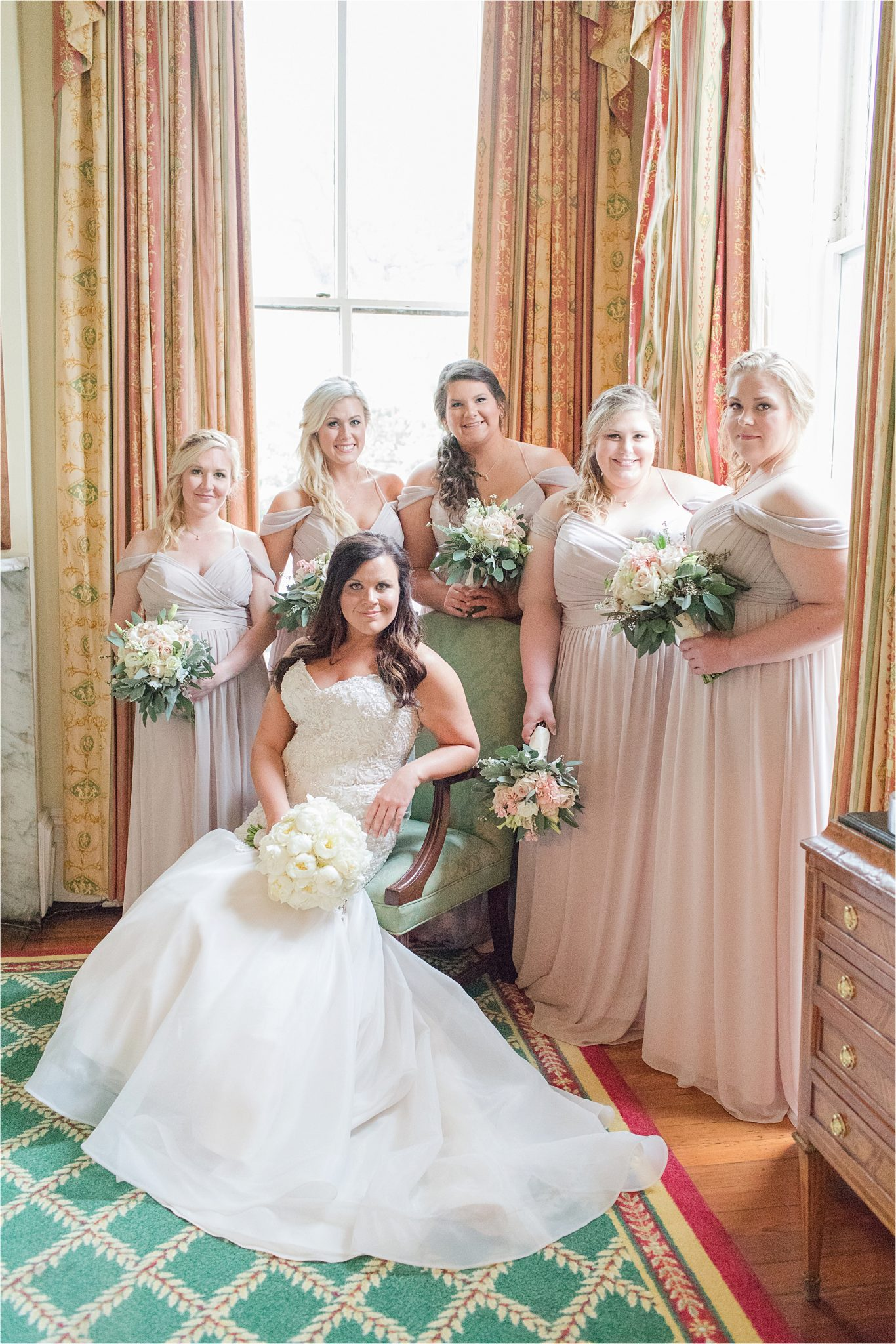 bridesmaids and flower girl-neutral long bridesmaid-wedding neutrals-wedding party-bride and her bridesmaids