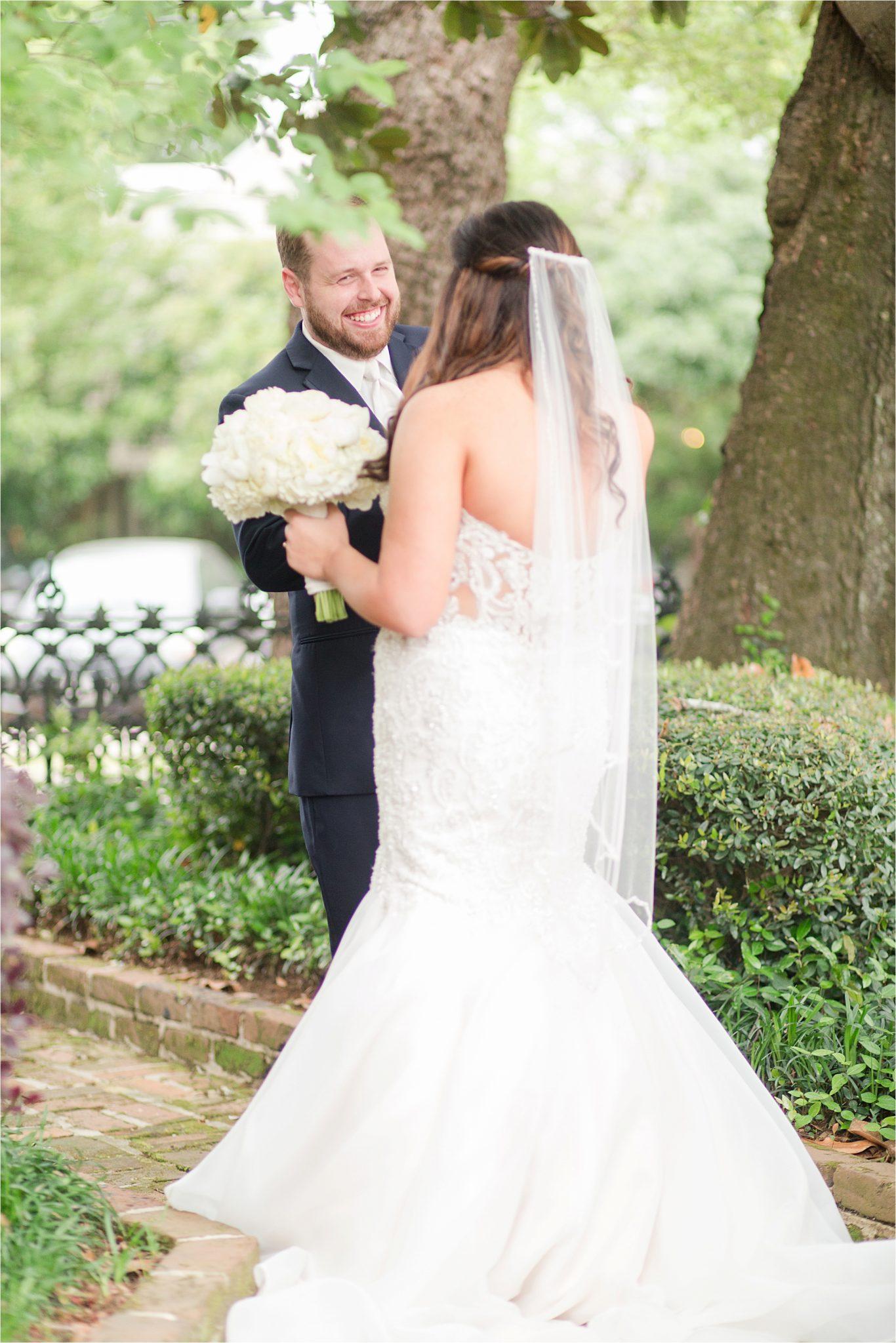 first look-bride and groom-mermaid dress-wedding moments-