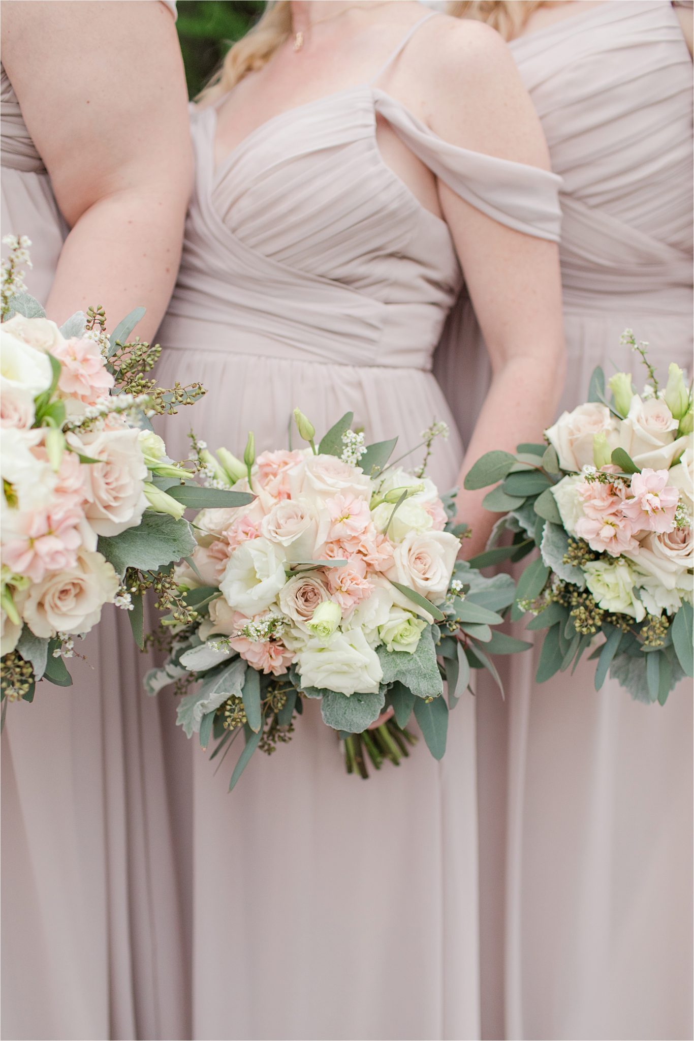 blush bouquet-blush and neutrals-wedding-bridesmaid dresses-draping shoulder bridesmaid dresses