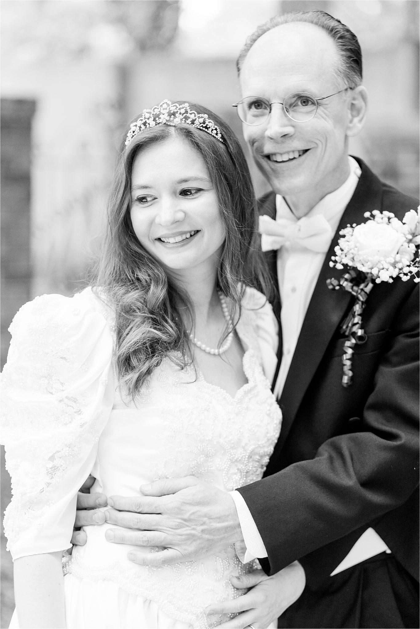 wedding dress-scallop neckline-bridal tiara-mature bride and groom