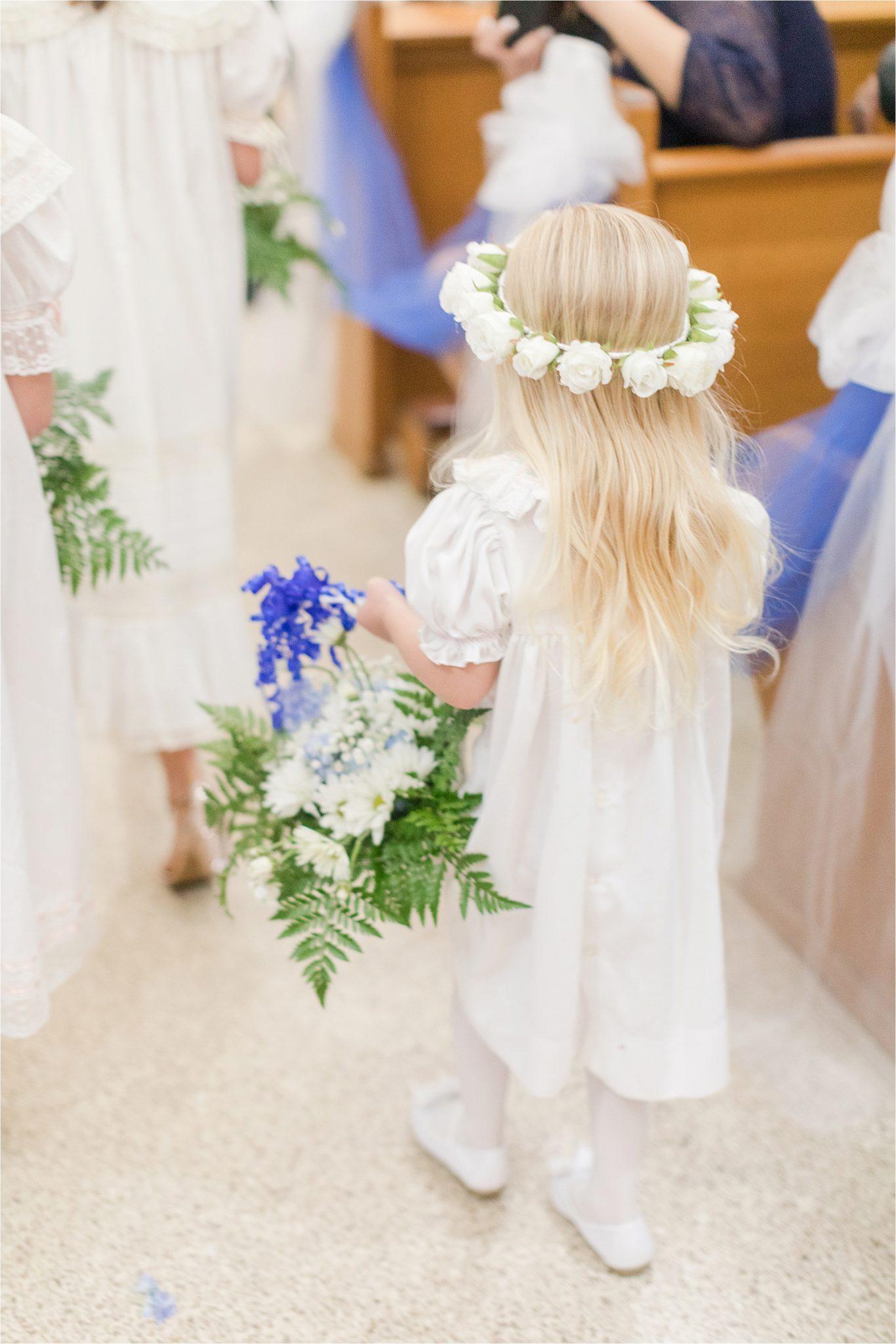 young flower girl-white rose-flower crown-flower basket-white dress