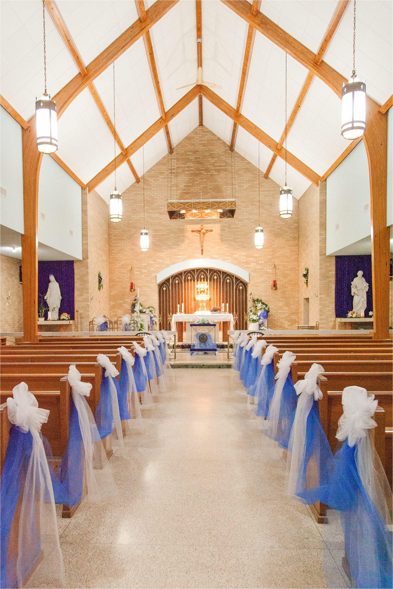 Carmelite Monastery-Mobile Alabama-Alabama wedding venues-Catholic Wedding-blue tulle-catholic church-religious wedding-high ceilings