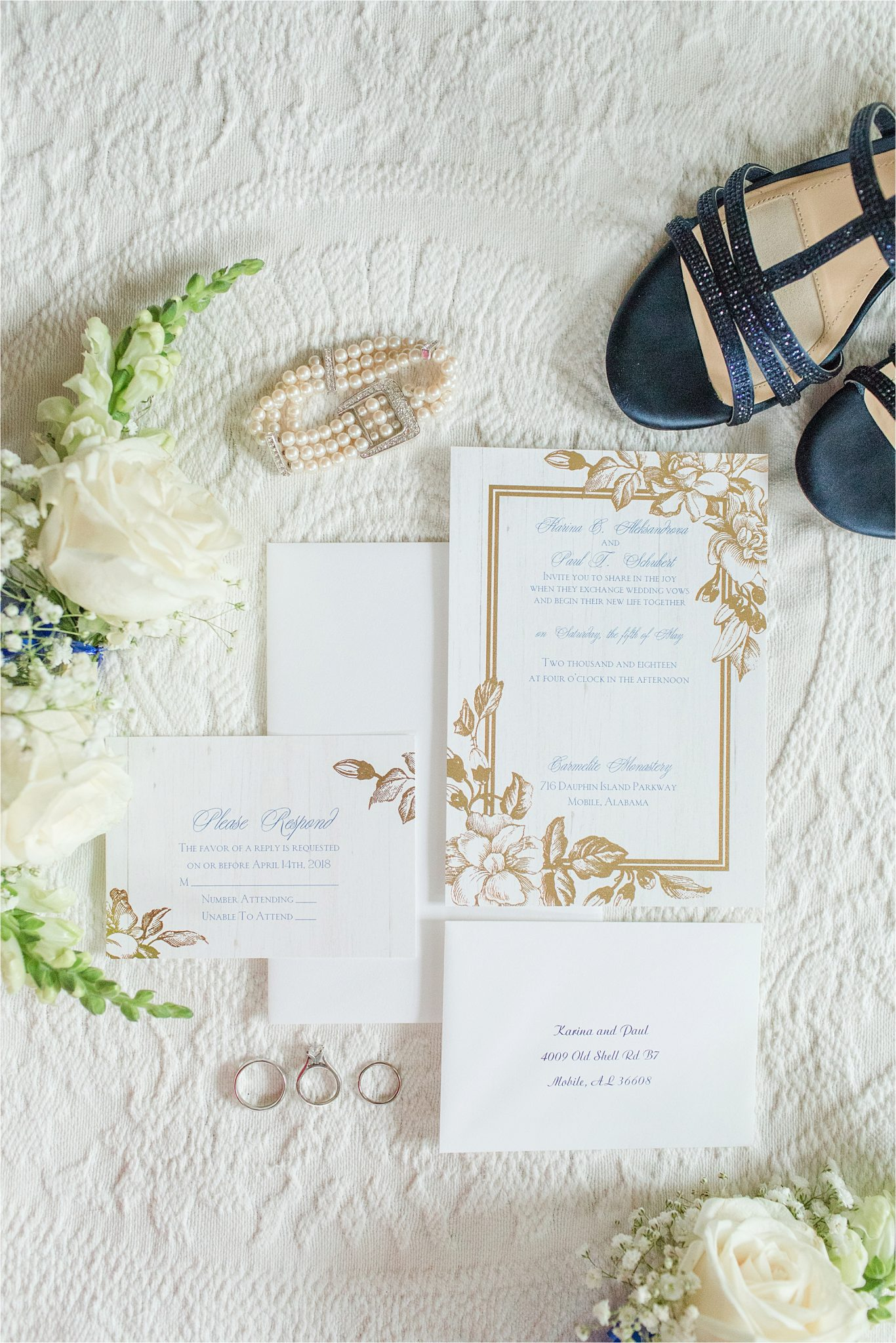 Gold accent-floral-invitaions-details-something blue-pearl bridal jewelry-white rose details