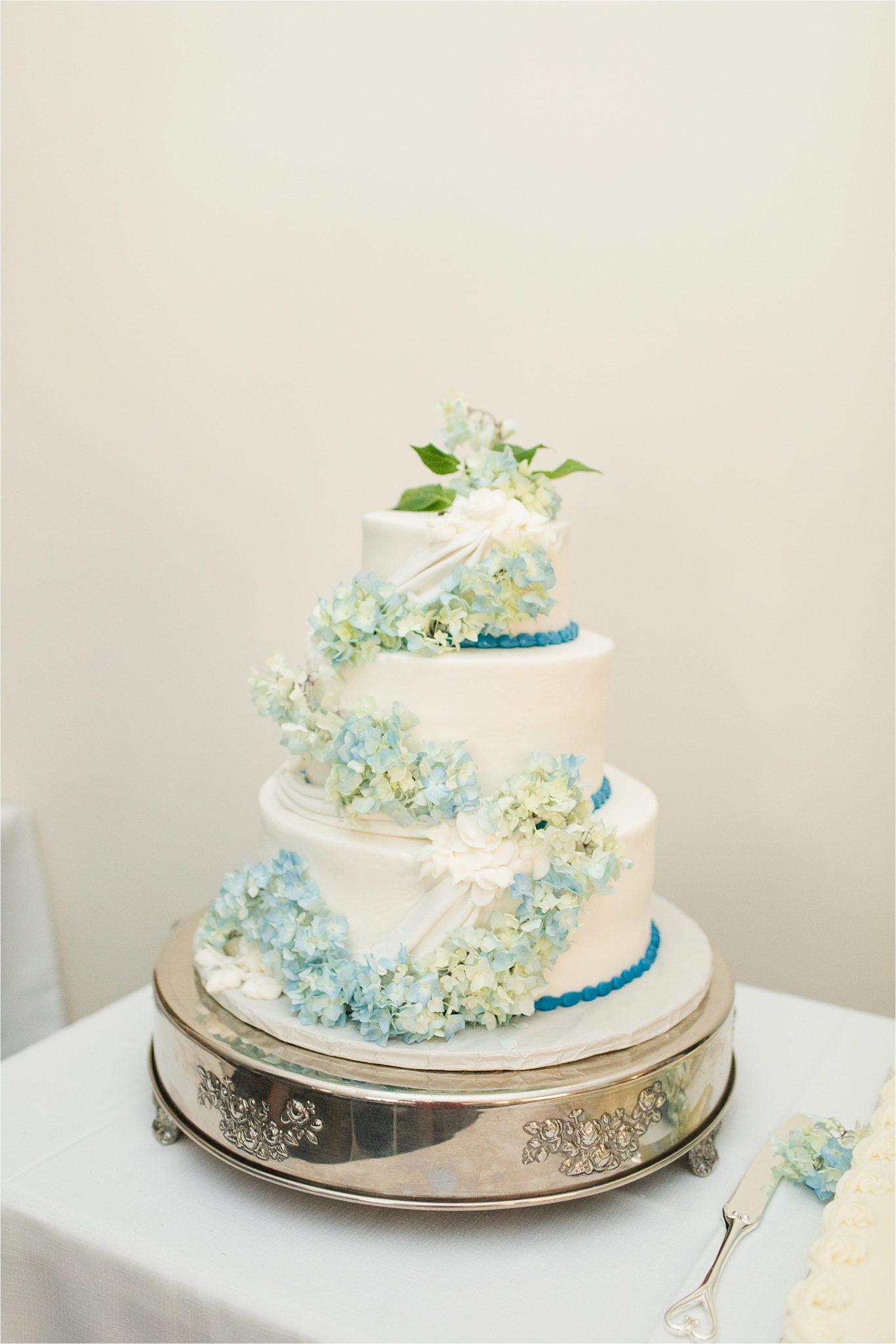 light blue wedding cake detail-wedding cake cascading flowers-three tier wedding cake-3 tier