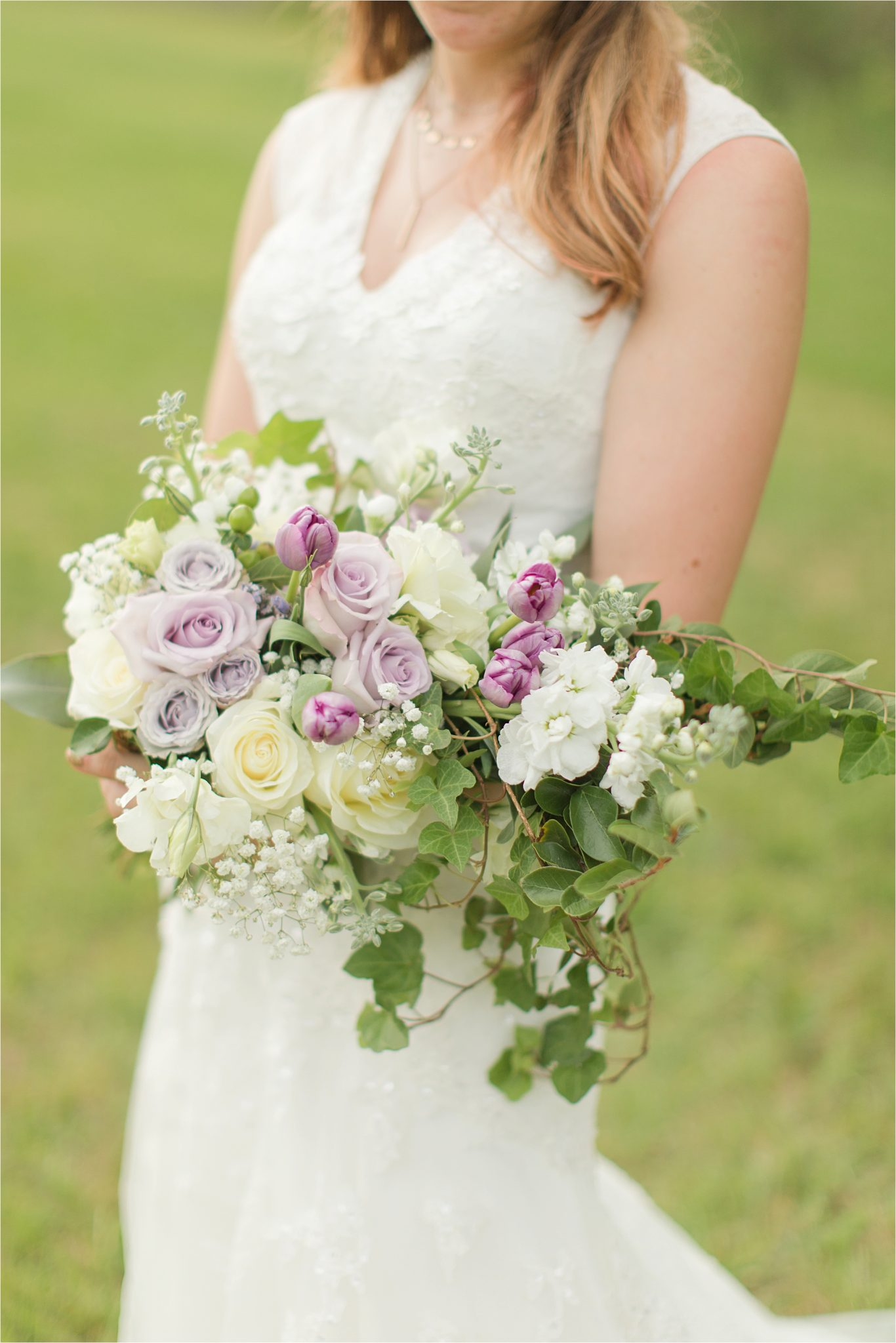 white roses-lavender roses-purple tulips-babies breath-ivy-wedding bouquet-bridal bouquet-brides bouquet