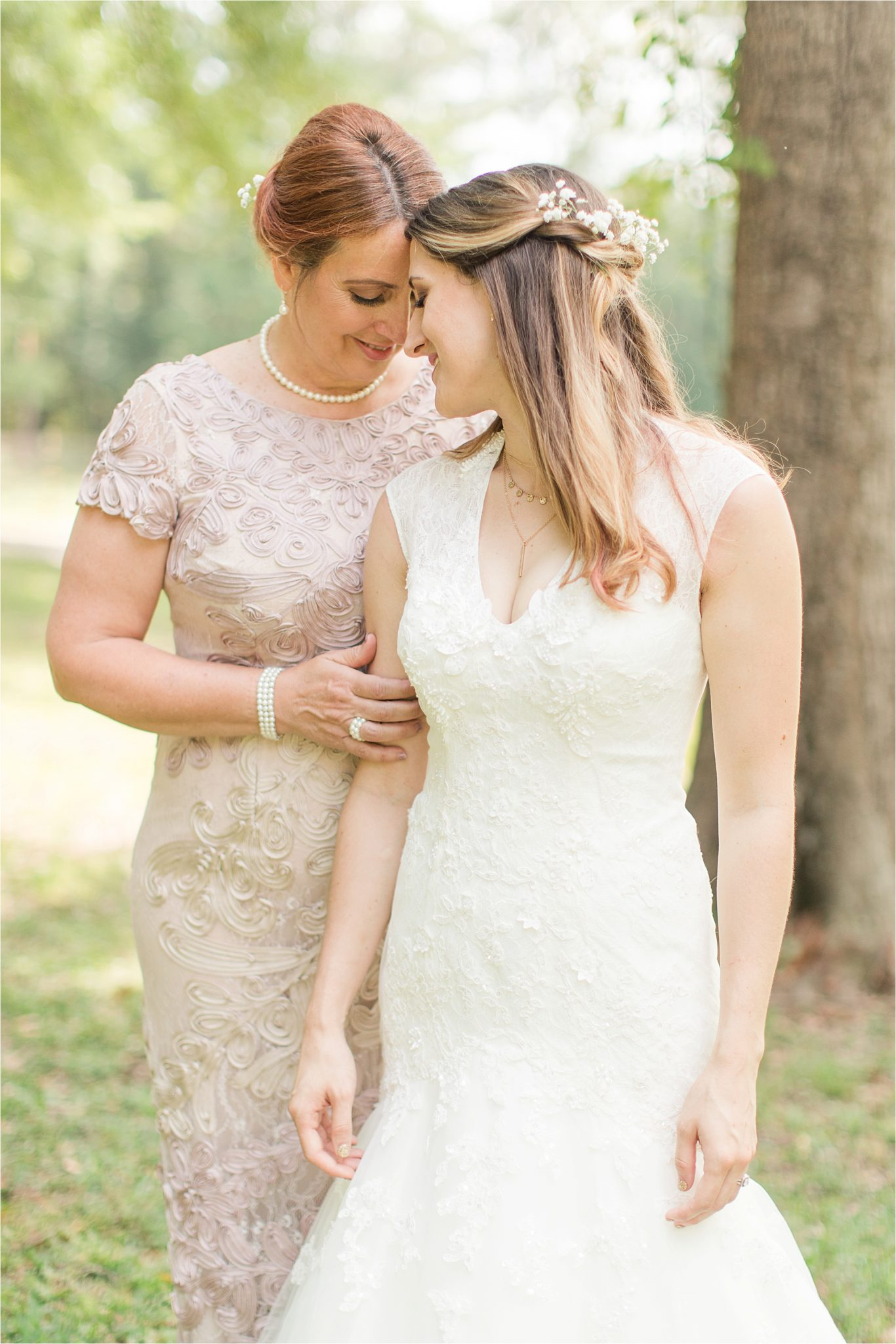 babies breath bridal crown-mother of the bride-blush dress-mermaid wedding gown with lace detailing