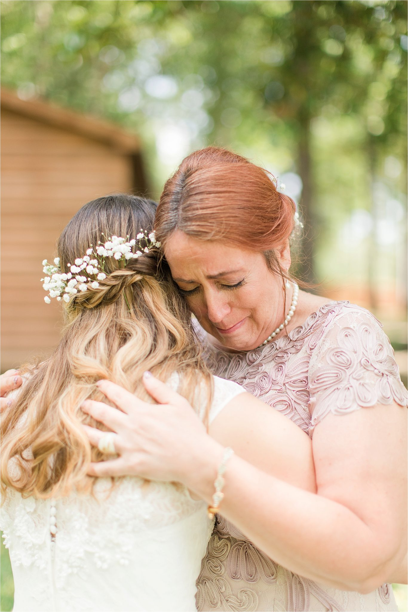 mother of the bride-emotional moments-picture ideas-flower crown bridal hair-dress