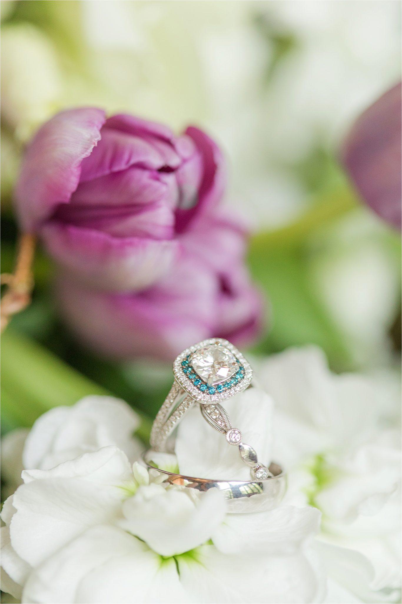 double halo-blue topaz-double band-halo-cushion cut-ornate wedding band