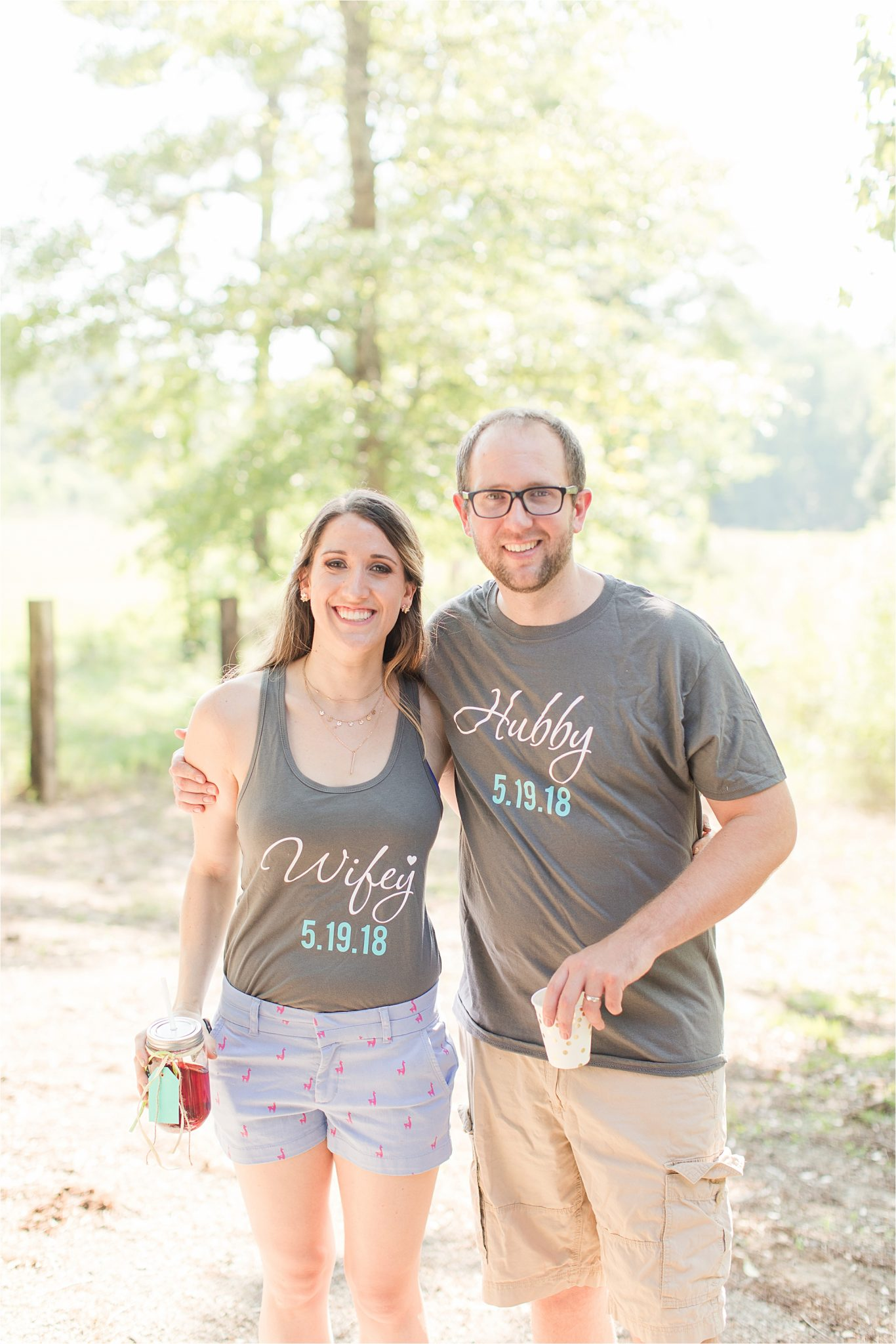 wedding reception-comfy bride and groom outfits-clothes-hubby and wife tshirts